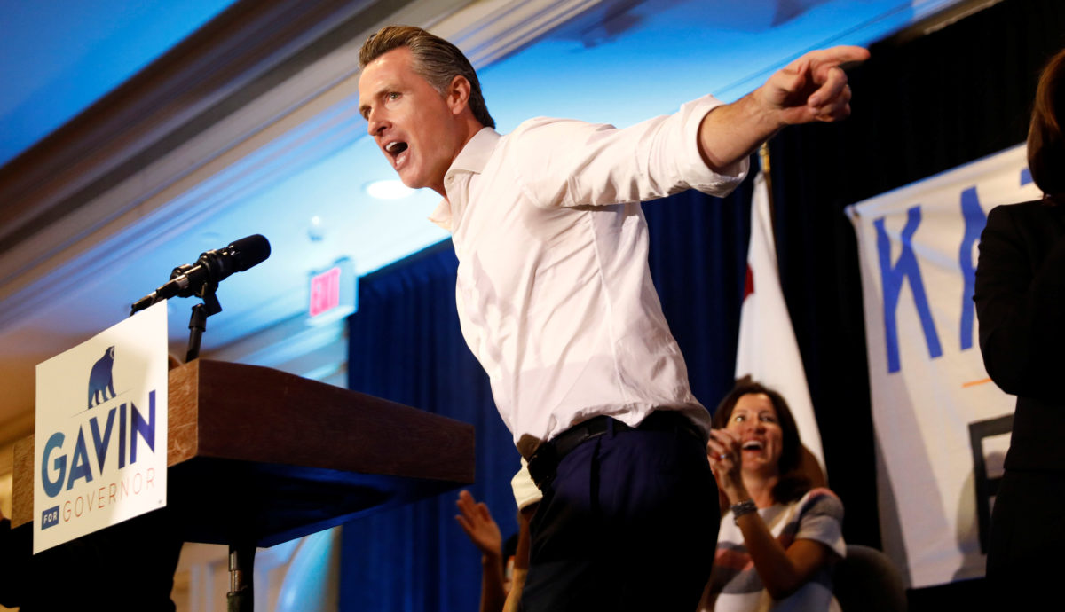 Gubernatorial candidate Newsom speaks during a campaign rally in Irvine