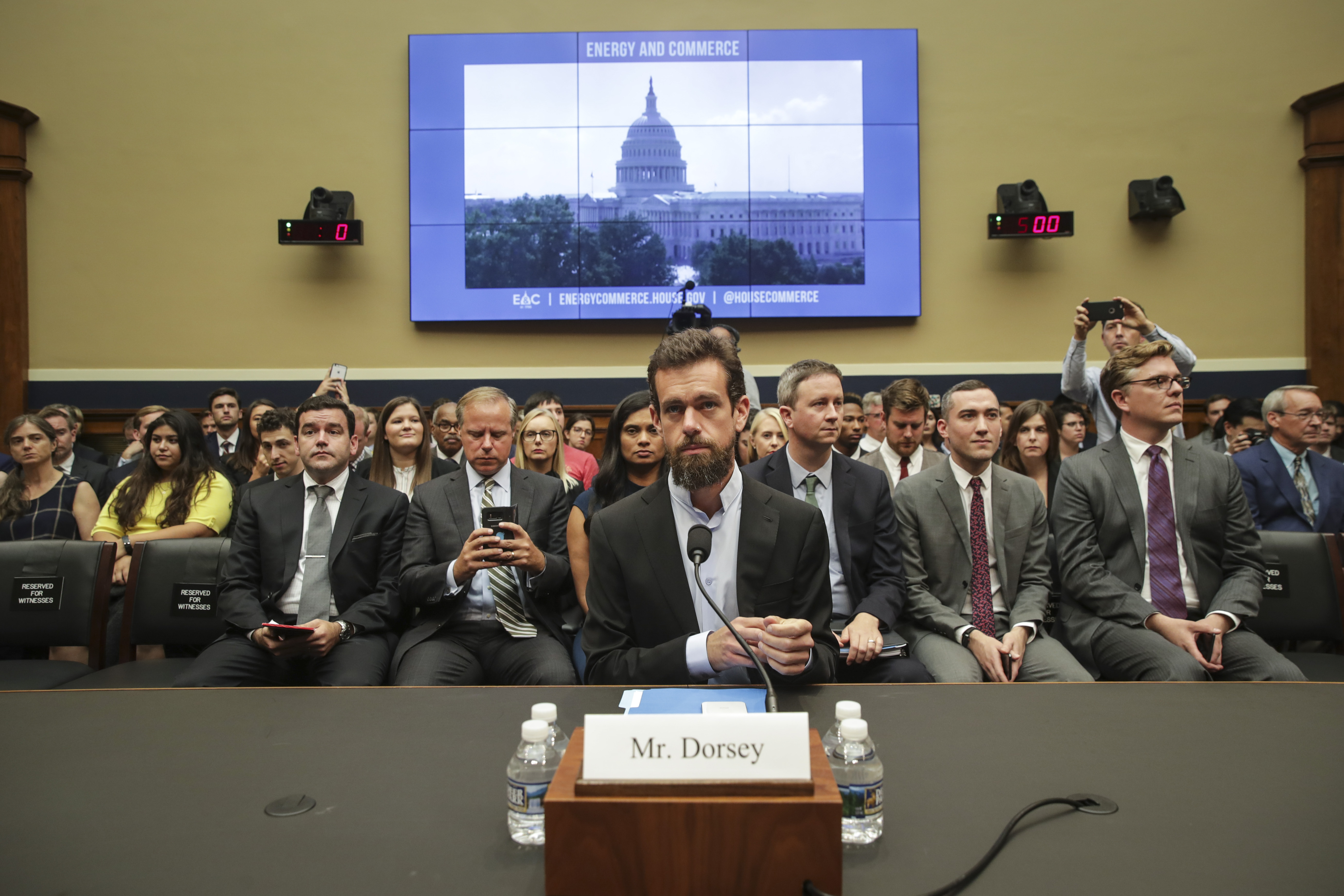 Twitter chief executive officer Jack Dorsey takes his seat as he arrives for a House Committee on Energy and Commerce hearing about Twitter's transparency and accountability, on Capitol Hill, September 5, 2018 in Washington, DC. Twitter CEO Jack Dorsey and Facebook chief operating officer Sheryl Sandberg faced questions about how foreign operatives use their platforms in attempts to influence and manipulate public opinion. (Photo by Drew Angerer/Getty Images)