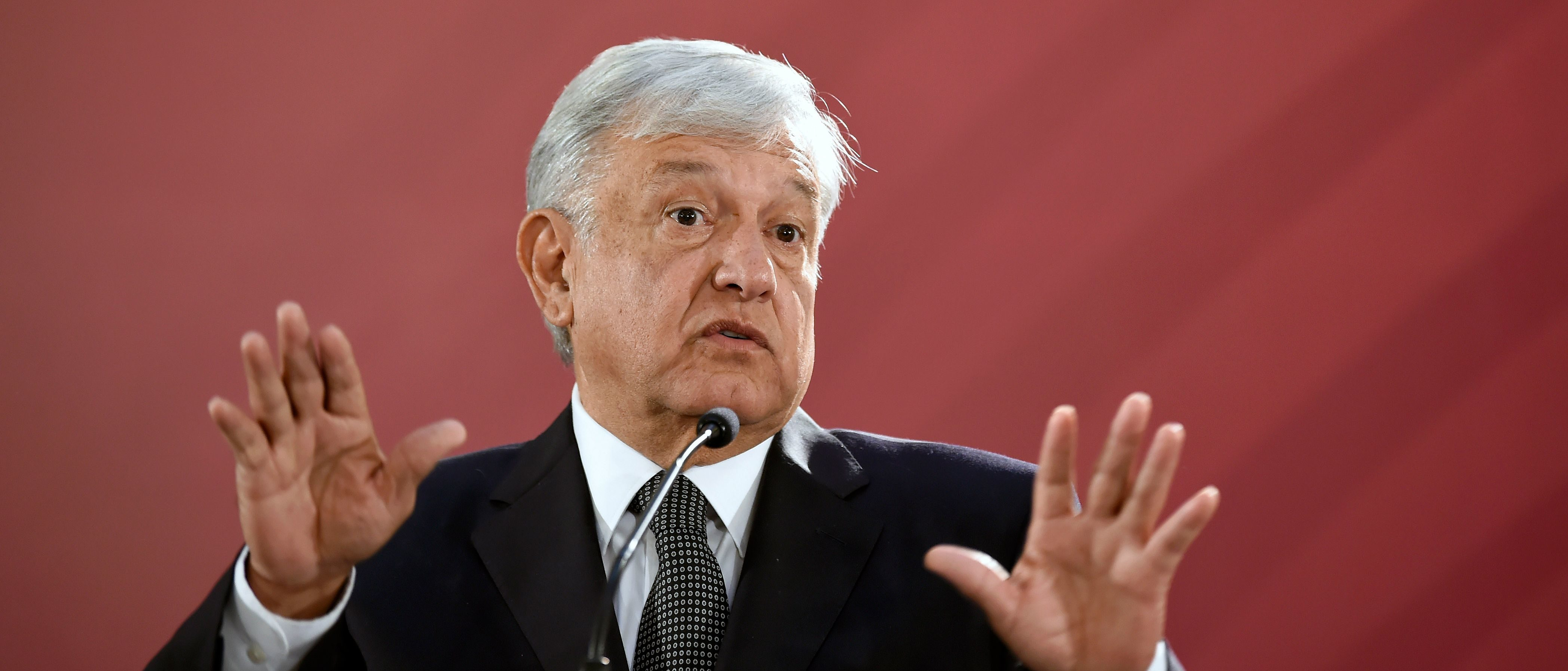 "Mexico's President Andres Manuel Lopez Obrador gives his first press conference as president, at the National Palace in Mexico City on December 3, 2018. - Anti-establishment leftist Andres Manuel Lopez Obrador vowed a ""deep and radical"" change in Mexico as he assumed the country's presidency on December 1. (Photo by Alfredo ESTRELLA / AFP) (Photo credit should read ALFREDO ESTRELLA/AFP/Getty Images)"
