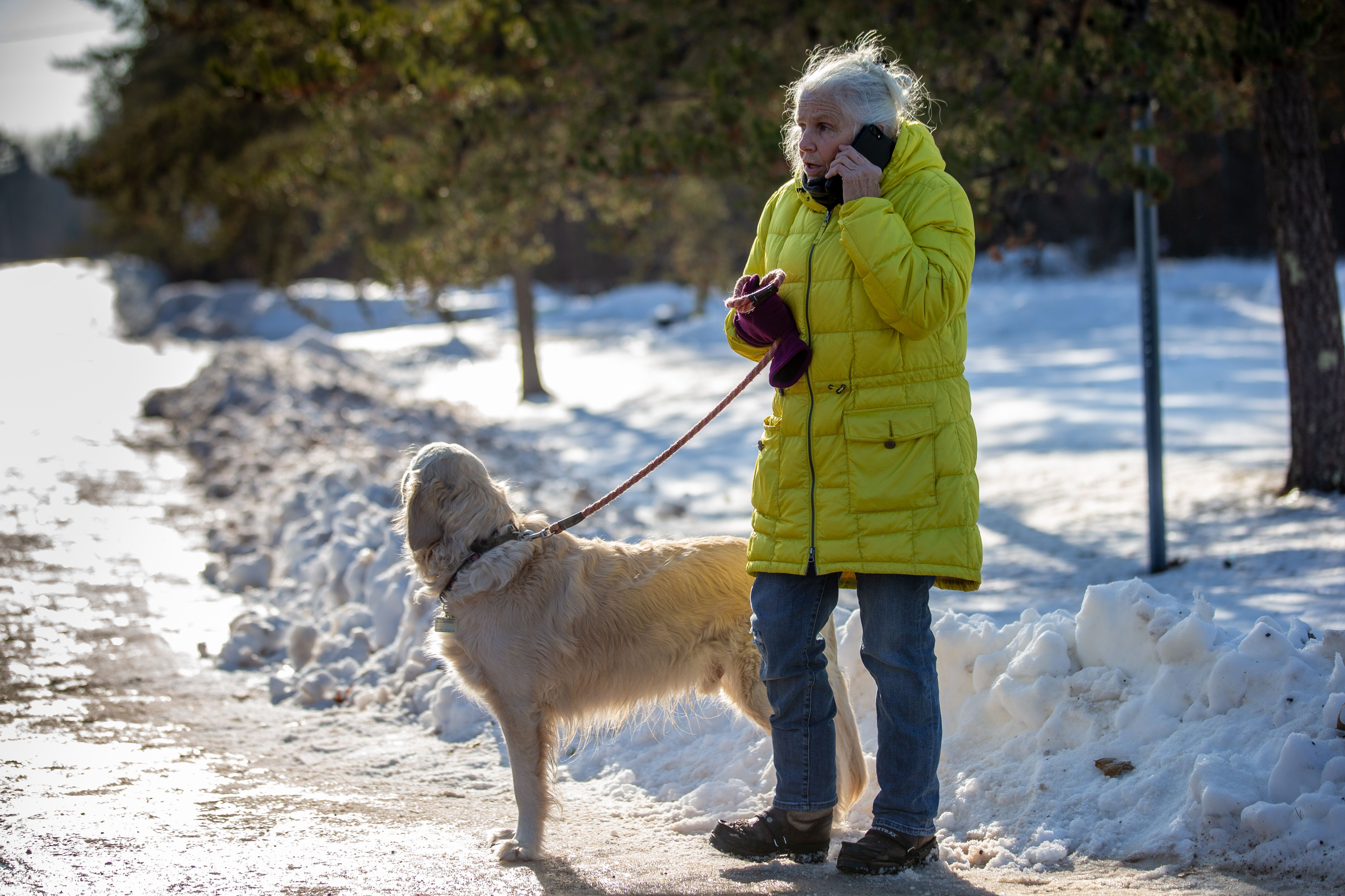 Jeanne Nutter speaks to the press on January 11, 2019 in Gordon, Wisconsin. Nutter, walking her dog near the cabin she owns with her husband Forrest on January 10, encountered Jayme Closs coming out of nearby woods. (KEREM YUCEL/AFP/Getty Images)