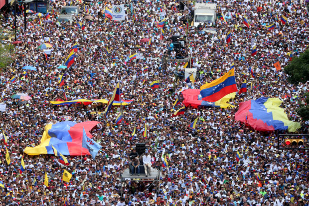 Thousands of protesters gather at Avenida Francisco De Miranda during a demonstration organized by Juan Guaidó President of the Venezuelan National Assembly on February 12, 2019 in Caracas, Venezuela. (Edilzon Gamez/Getty Images)