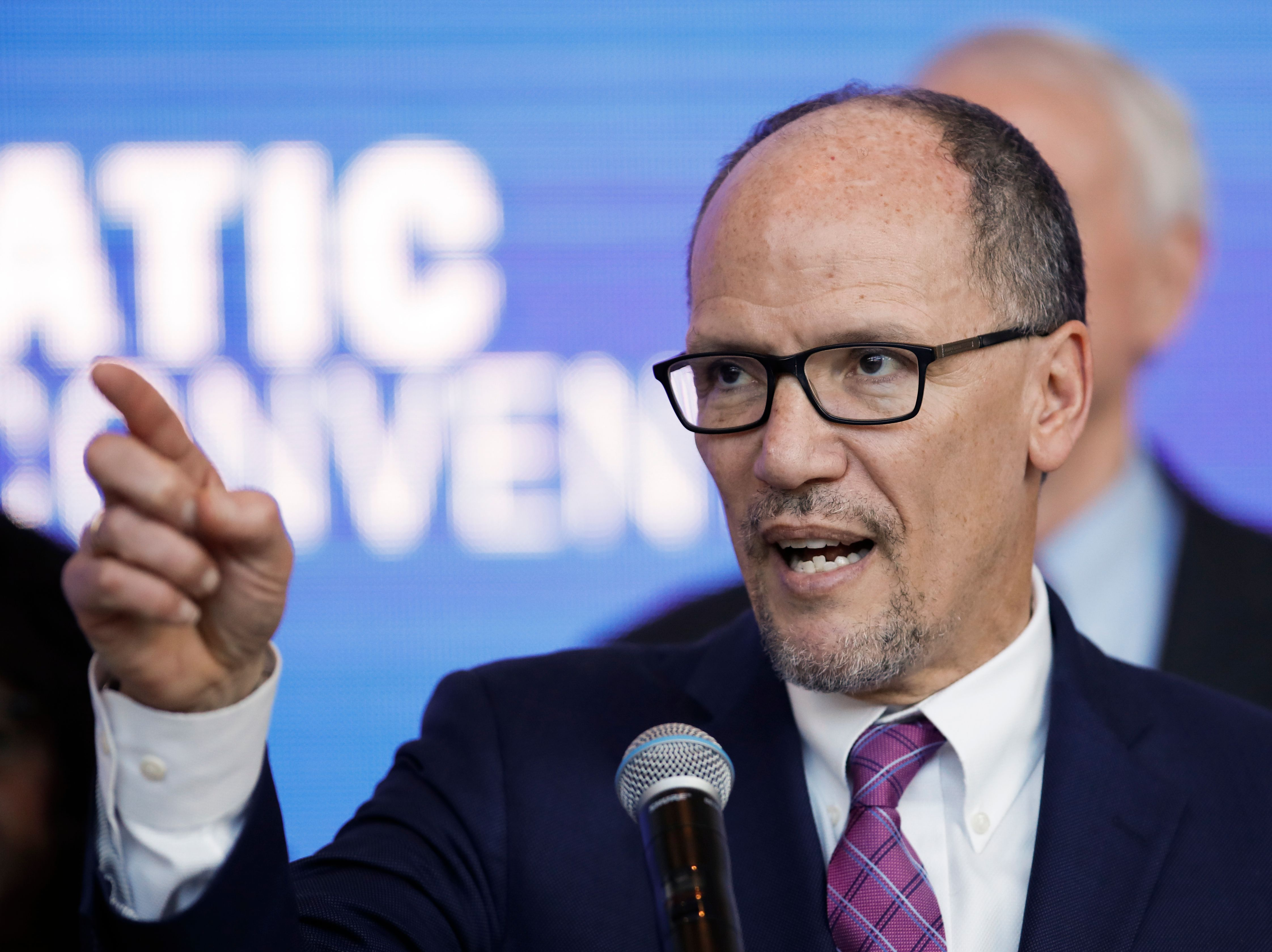 Chair of the Democratic National Committee Tom Perez speaks during a press conference at the Fiserv Forum in Milwaukee, Wisconsin on March 11, 2019, to announce the selection of Milwaukee as the 2020 Democratic National Convention host city. (KAMIL KRZACZYNSKI/AFP/Getty Images)