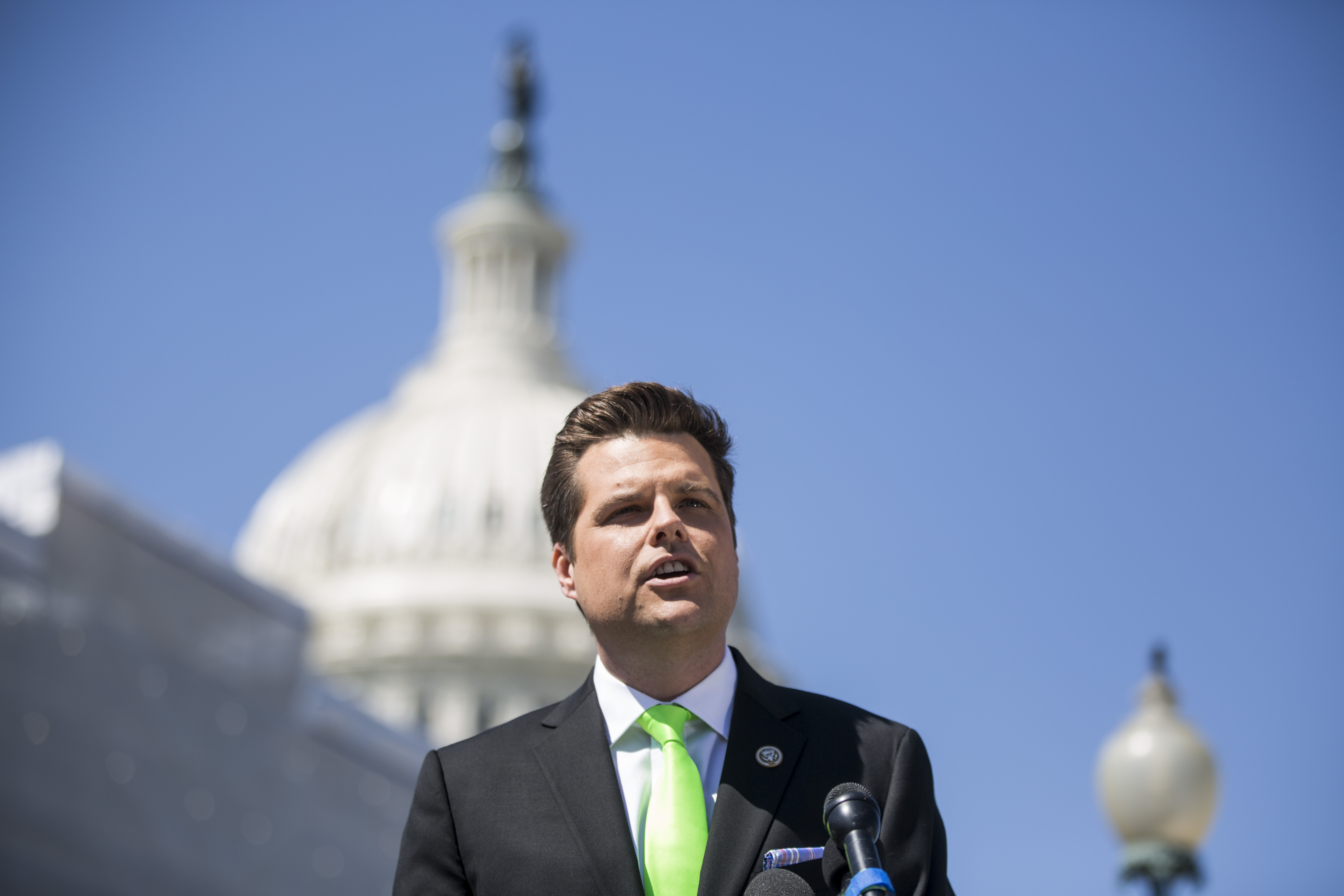 """Rep. Matt Gaetz speaks during a news conference to announce the """"Green Real Deal"""" on April 3, 2019 in Washington, DC. (Photo by Zach Gibson/Getty Images)"""