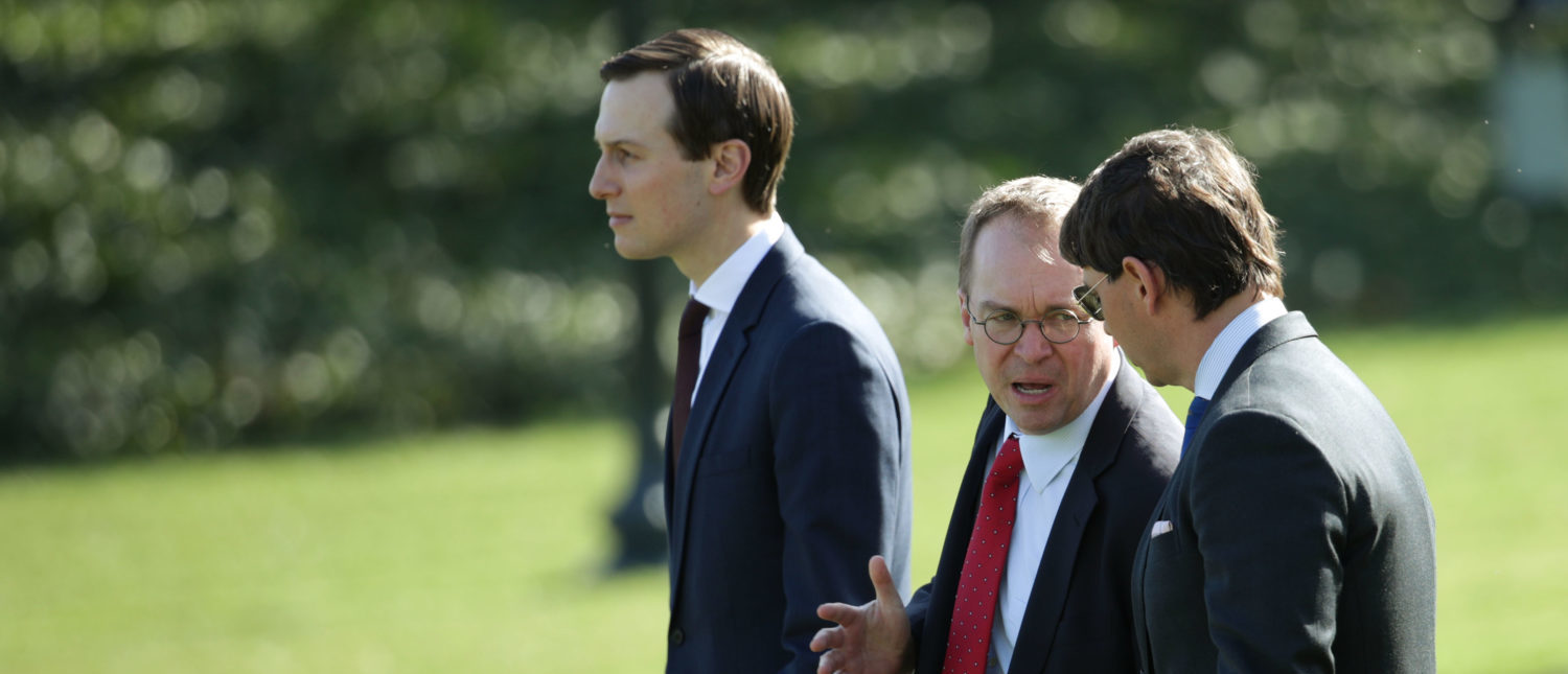 WASHINGTON, DC - MARCH 28: White House Chief of Staff Mick Mulvaney (2nd L) and senior adviser to the President Jared Kushner walk on the South Lawn prior to their departure with U.S. President Donald Trump from the White House March 28, 2019 in Washington, DC. President Trump is traveling to Michigan to hold a political rally in Grand Rapids. He will travel to his Mar-a-Lago resort in Florida later tonight. (Photo by Alex Wong/Getty Images)