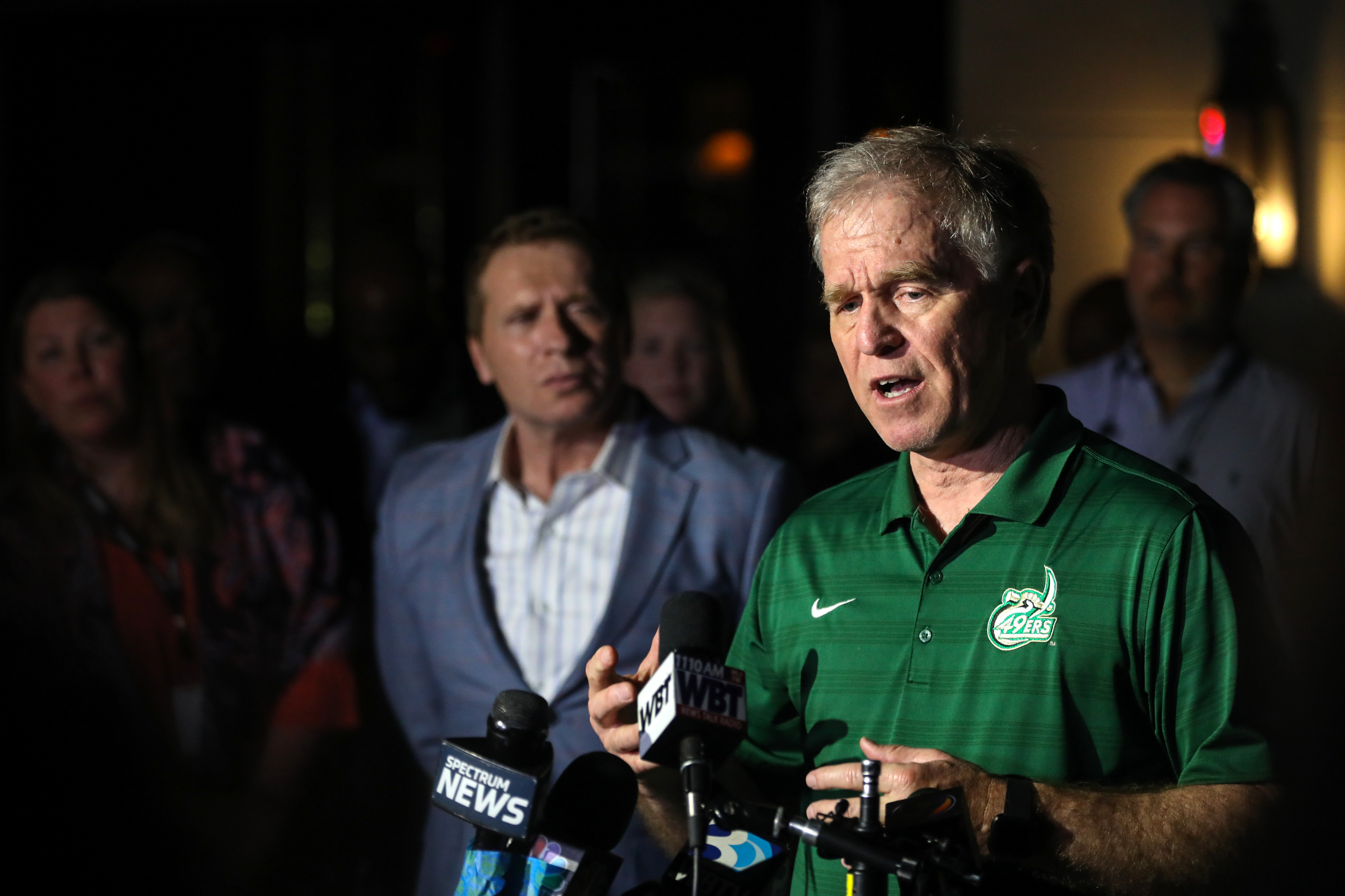 University of North Carolina Charlotte (UNCC) Police Chief Jeff Baker gives an update to the media after a shooting on the University of North Carolina Charlotte campus in University City, Charlotte, on April 30, 2019. (LOGAN CYRUS/AFP/Getty Images)