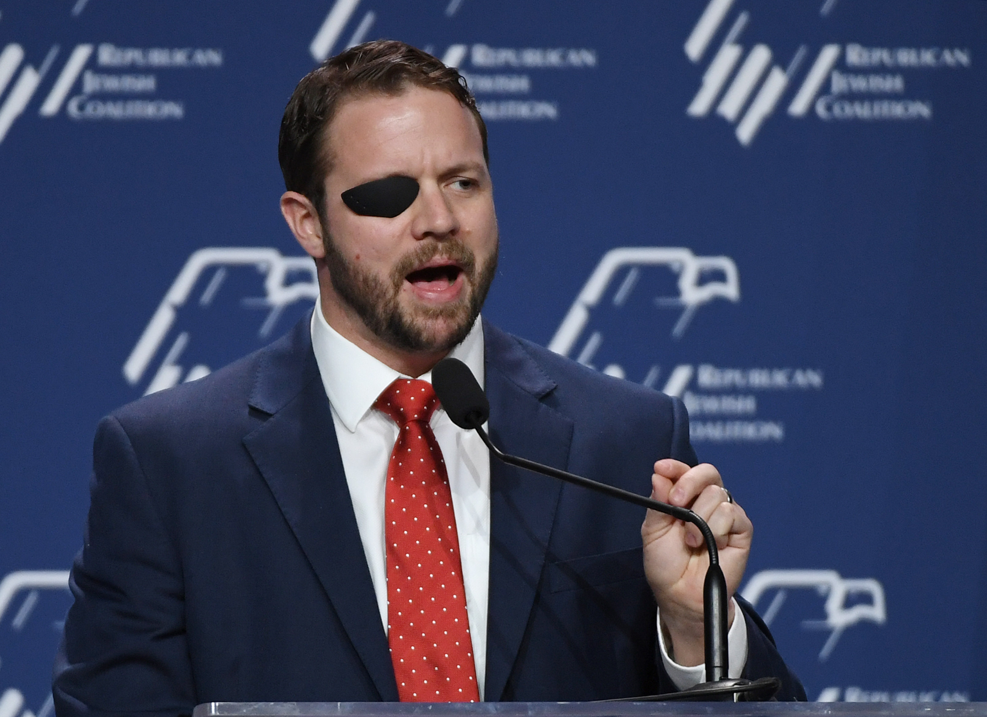 U.S. Rep. Dan Crenshaw speaks at the Republican Jewish Coalition's annual leadership meeting at The Venetian Las Vegas after appearances by U.S. President Donald Trump and Vice President Mike Pence on April 6, 2019 in Las Vegas, Nevada. (Photo by Ethan Miller/Getty Images)