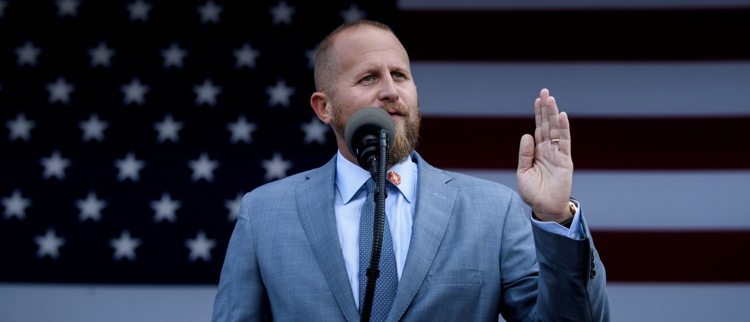 Trump 2020 campaign manager Brad Parscale speaks before US President Donald Trump during a Make America Great Again rally at Aaron Bessant Amphitheater May 8, 2019, in Panama City Beach, Florida. (Photo by BRENDAN SMIALOWSKI/AFP/Getty Images)