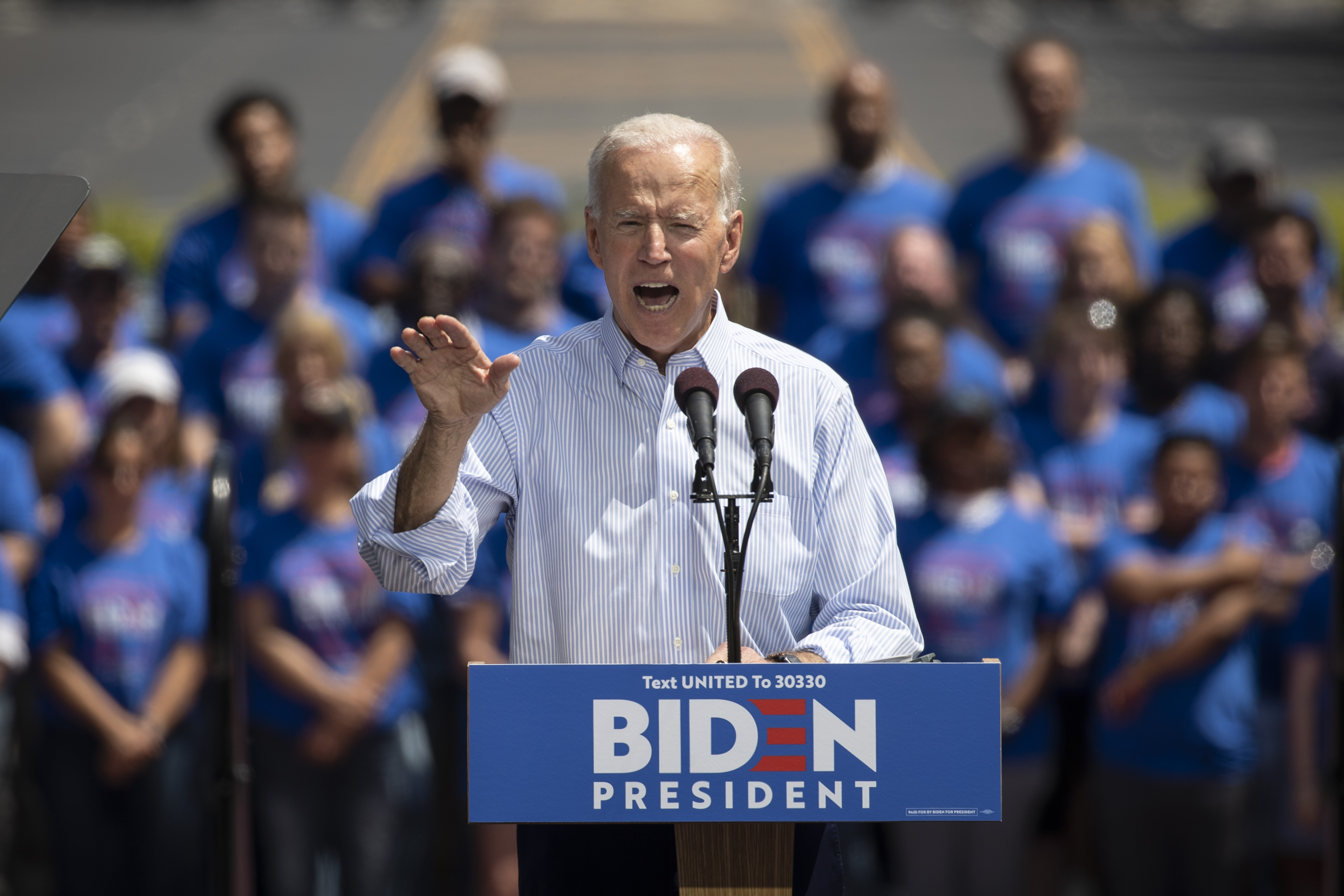 Former U.S. Vice President and Democratic presidential candidate Joe Biden speaks during a campaign kickoff rally, May 18, 2019 in Philadelphia, Pennsylvania. (Drew Angerer/Getty Images)