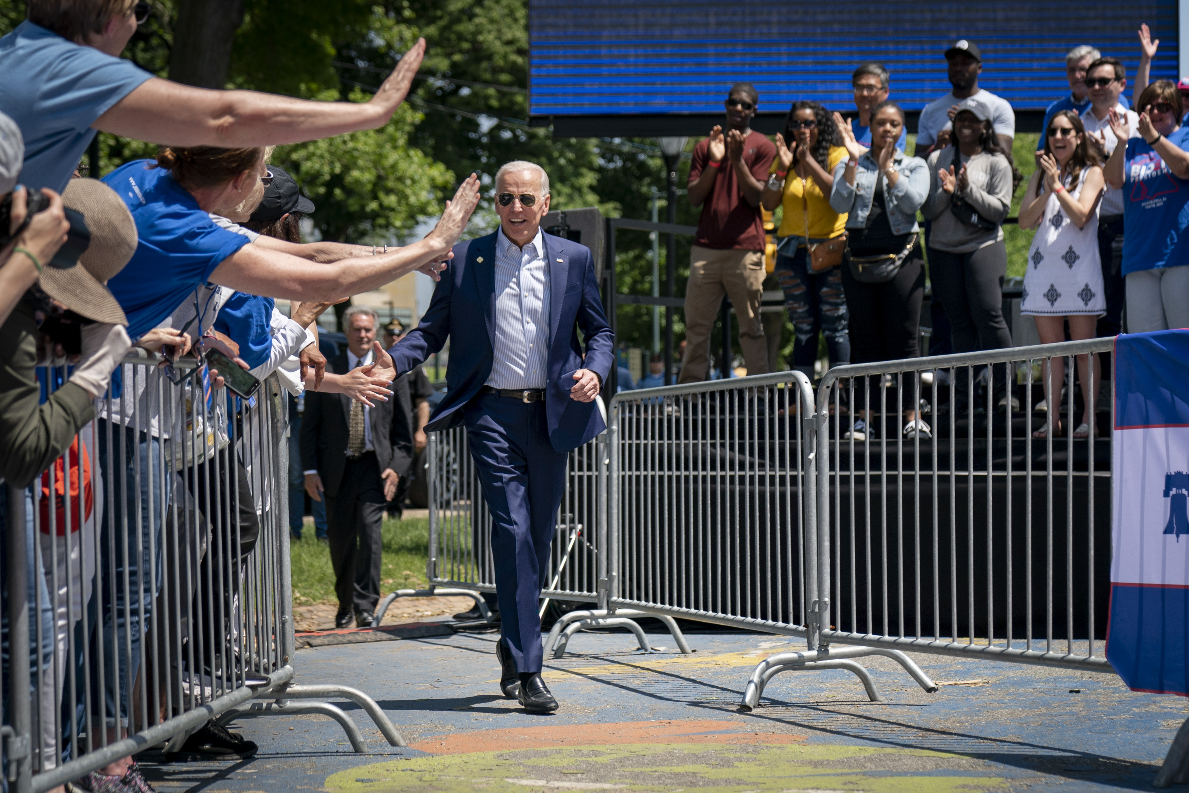PHILADELPHIA, PA - MAY 18: Democratic presidential candidate, former U.S. Vice President Joe Biden arrives for a campaign kickoff rally, May 18, 2019 in Philadelphia, Pennsylvania. Since Biden announced his candidacy in late April, he has taken the top spot in all polls of the sprawling Democratic primary field. Biden's rally on Saturday was his first large-scale campaign rally after doing smaller events in Iowa and New Hampshire in the past few weeks. (Photo by Drew Angerer/Getty Images)