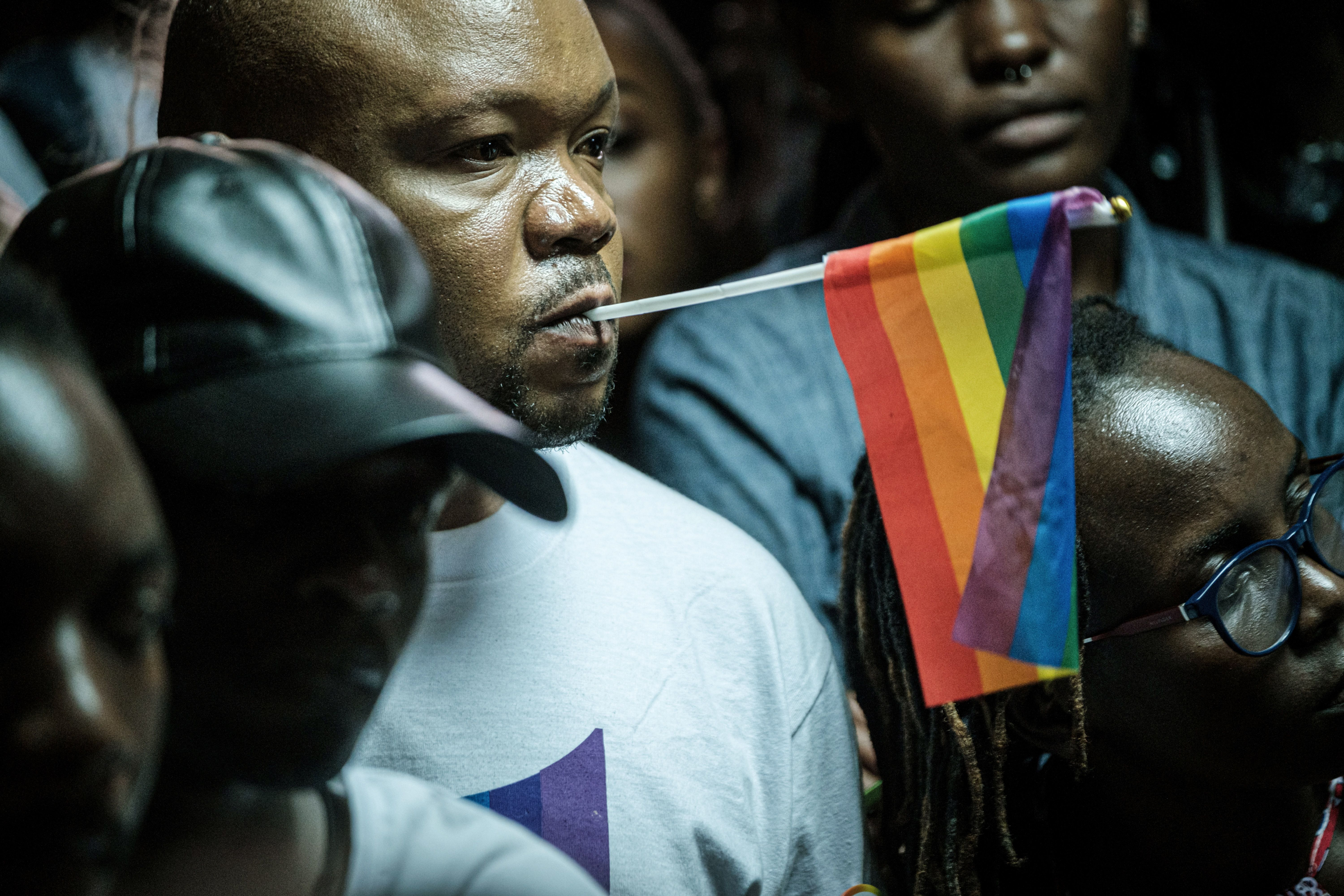 LGBTQ community members and supporters listen to a verdict on scrapping laws criminalising homosexuality at the Milimani high court in Nairobi, Kenya, on May 24, 2019. - Kenya's high court, in a much-awaited verdict, refused to scrap laws criminalising homosexuality, fearing this would lead to same-sex marriage which it said was unconstitutional. (YASUYOSHI CHIBA/AFP/Getty Images)