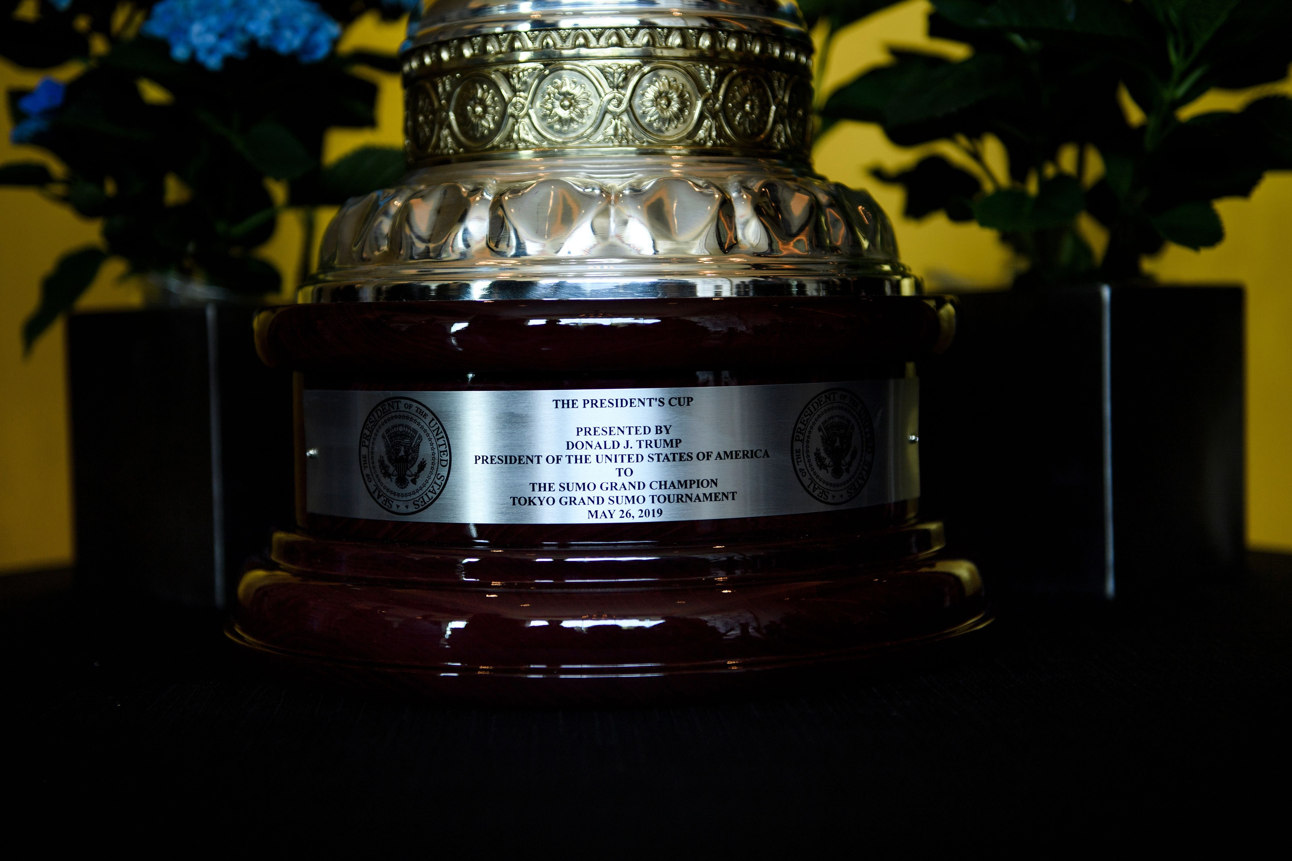 The President's Cup, which will be awarded to sumo wrestler Asanoyama by US President Donald Trump during the Summer Grand Sumo Tournament, is kept on display at Palace Hotel in Tokyo on May 26, 2019. (Photo by BRENDAN SMIALOWSKI/AFP/Getty Images)