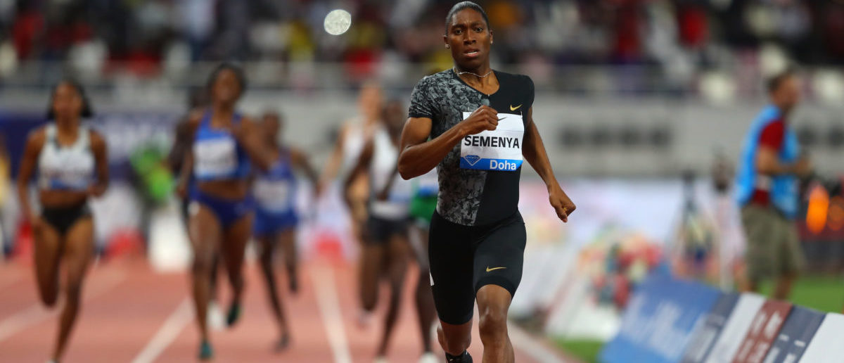 Caster Semenya of South Africa races to the line to win the Women's 800 metres during the IAAF Diamond League event at the Khalifa International Stadium on May 03, 2019 in Doha, Qatar. (Francois Nel/Getty Images)