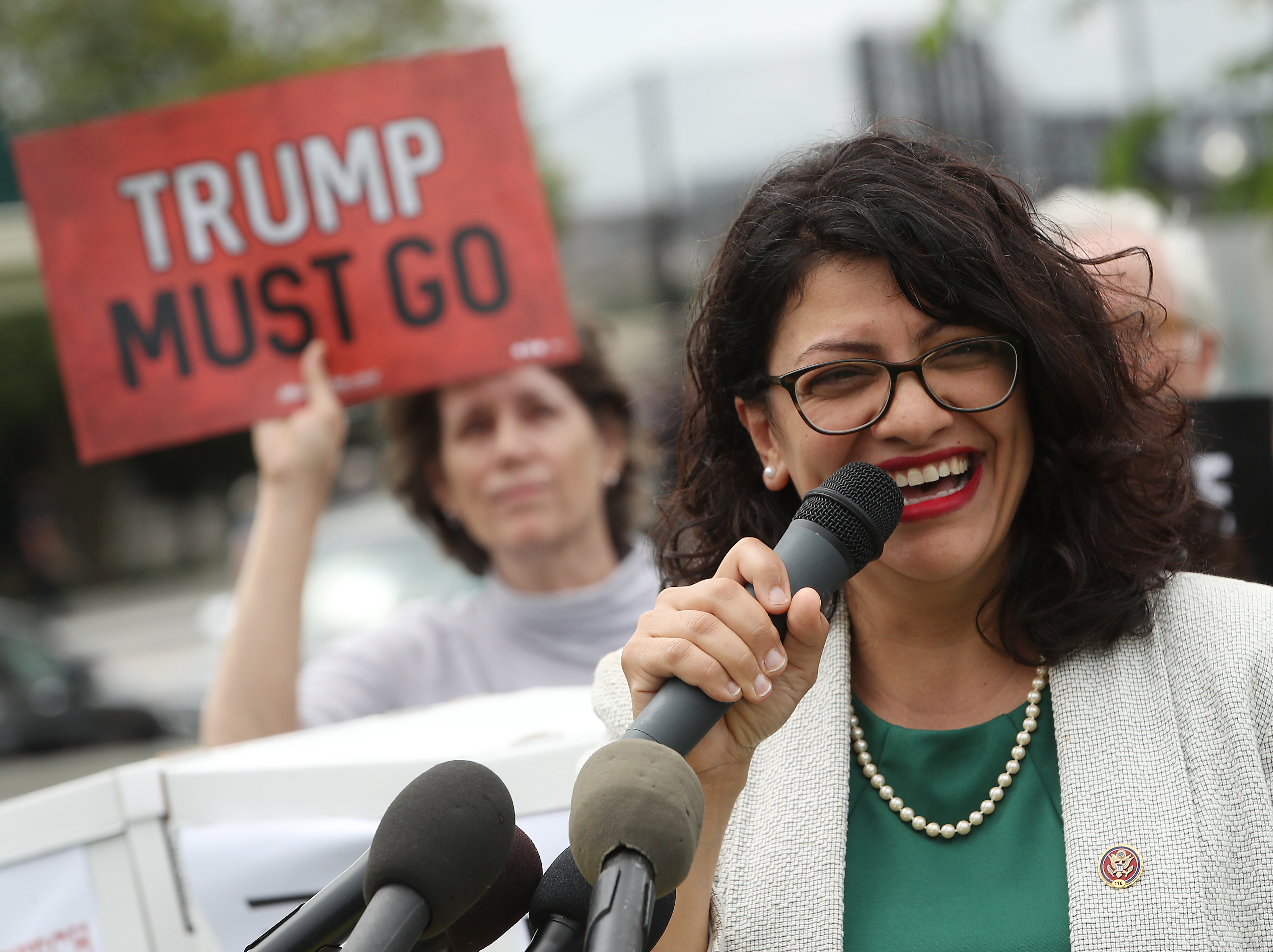 WASHINGTON, DC - MAY 09: Rep. Rashida Tlaib (D-MI) speaks during an event with activist groups to deliver over ten million petition signatures to Congress urging the U.S. House of Representatives to start impeachment proceedings against President Donald Trump on Capitol Hill May 9, 2019 in Washington, DC. (Photo by Mark Wilson/Getty Images)