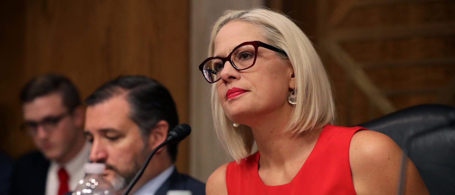 WASHINGTON, DC - MAY 14: Senate Aviation and Space Subcommittee ranking member Sen. Kyrsten Sinema questions witnesses during a hearing in the Dirksen Senate Office Building on Capitol Hill on May 14, 2019 in Washington, DC. (Photo by Chip Somodevilla/Getty Images)
