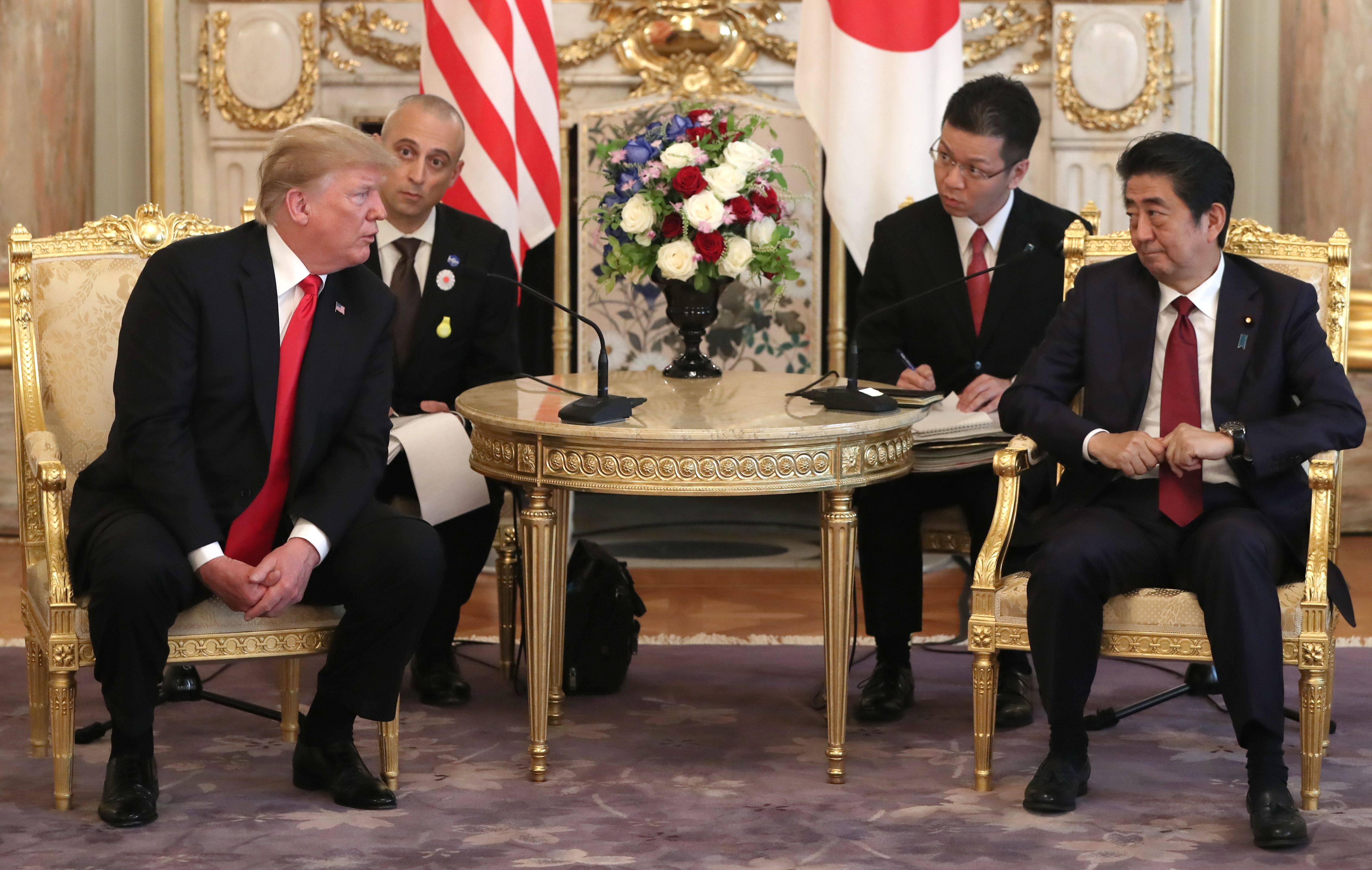 TOKYO, JAPAN - MAY 27: U.S. President Donald Trump, left, meets Japanese Prime Minister Shinzo Abe at Akasaka Palace, Japanese state guest house on May 27, 2019 in Tokyo, Japan. President Trump is on the third day of a four day state visit to Japan, the first official visit of the country's Reiwa era. Alongside a number of engagements, Mr Trump was guest of honour at a Sumo wrestling match on Sunday and is expected to meet families of North Korean abductees. (Photo by Eugene Hoshiko - Pool/Getty Images)