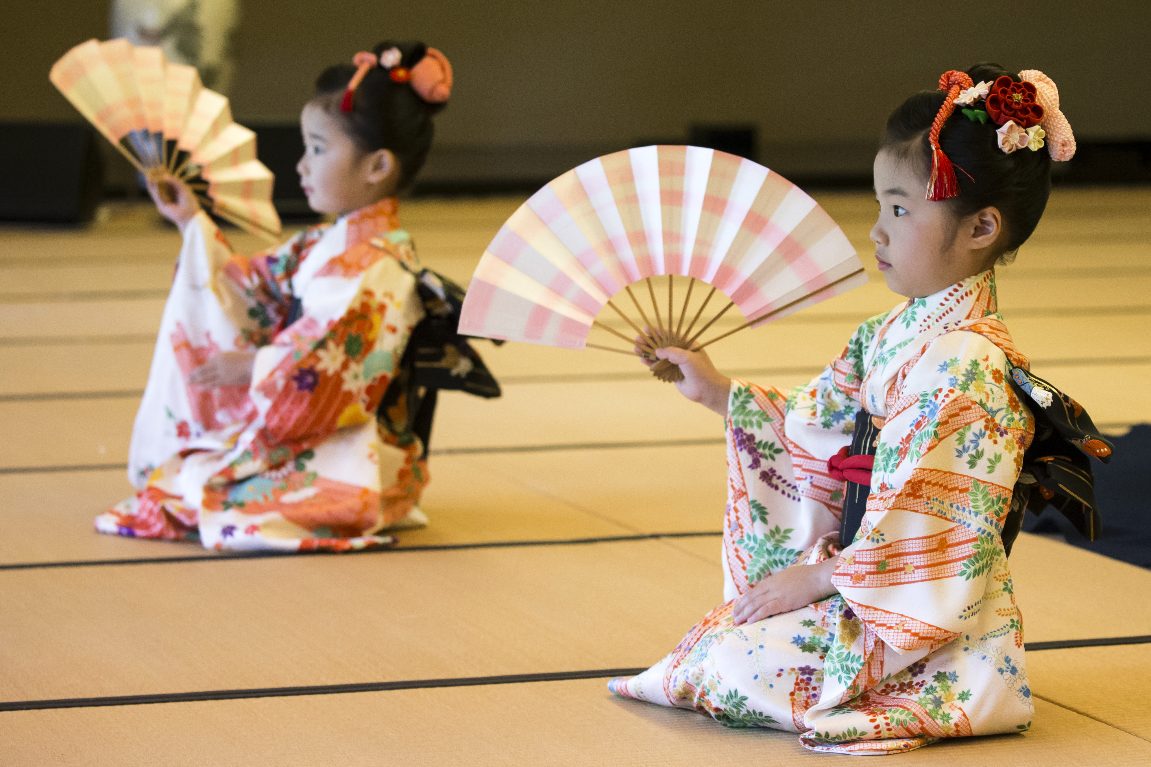 TOKYO, JAPAN - MAY 27: Children perform a traditional dance for U.S. First Lady Melania Trump and Akie Abe, wife of Japanese Prime Minister Shinzo Abe (both not pictured) during a cultural event at the Japanese style annex inside the State Guest House on May 27, 2019 in Tokyo, Japan. President Donald Trump is on the third day of a four day state visit to Japan, the first official visit of the country's Reiwa era. Alongside a number of engagements, Mr Trump was guest of honour at a Sumo wrestling match on Sunday and is expected to meet families of North Korean abductees. (Photo by Tomohiro Ohsumi/Getty Images)