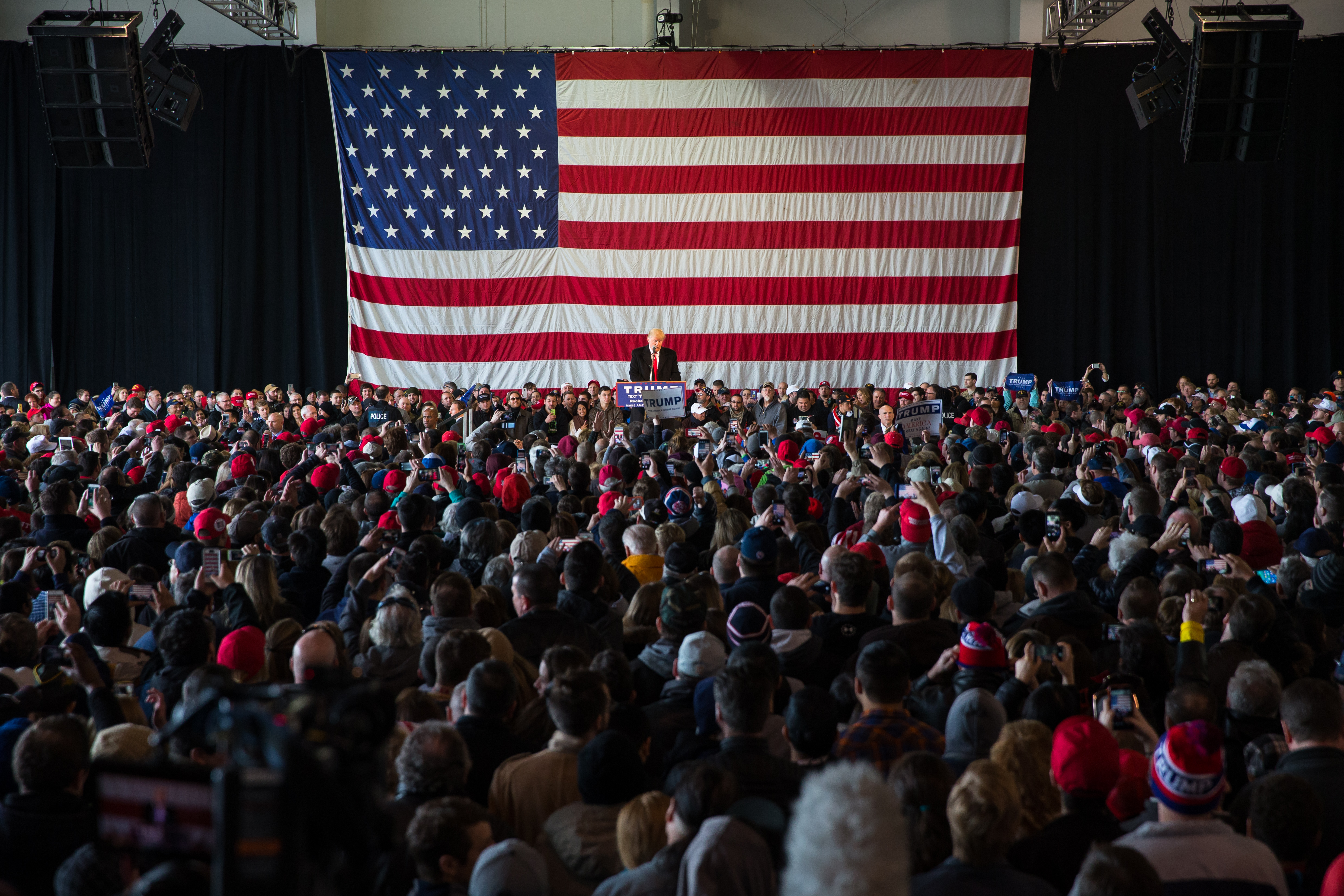 ROCHESTER, NEW YORK - APRIL 10: Republican presidential candidate Donald Trump speaks in front of a capacity crowd at a rally for his campaign on April 10, 2016 in Rochester, New York. The New York Democratic primary is scheduled for April 19th. (Photo by Brett Carlsen/Getty Images)