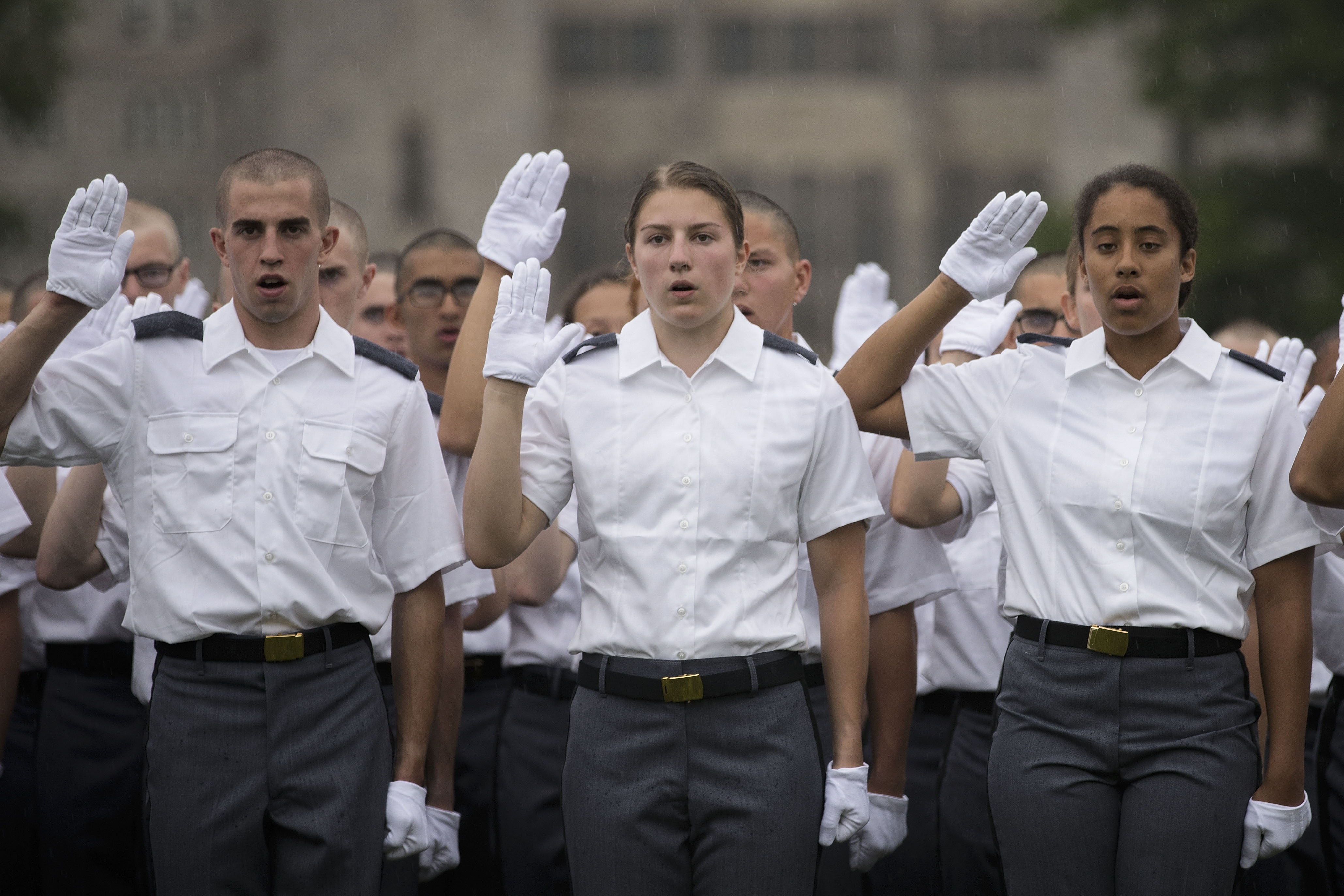 WEST POINT, NY - JUNE 27: New cadets take the Oath of Allegiance during Reception Day at the United States Military Academy at West Point, June 27, 2016 in West Point, New York. (Drew Angerer/Getty Images)
