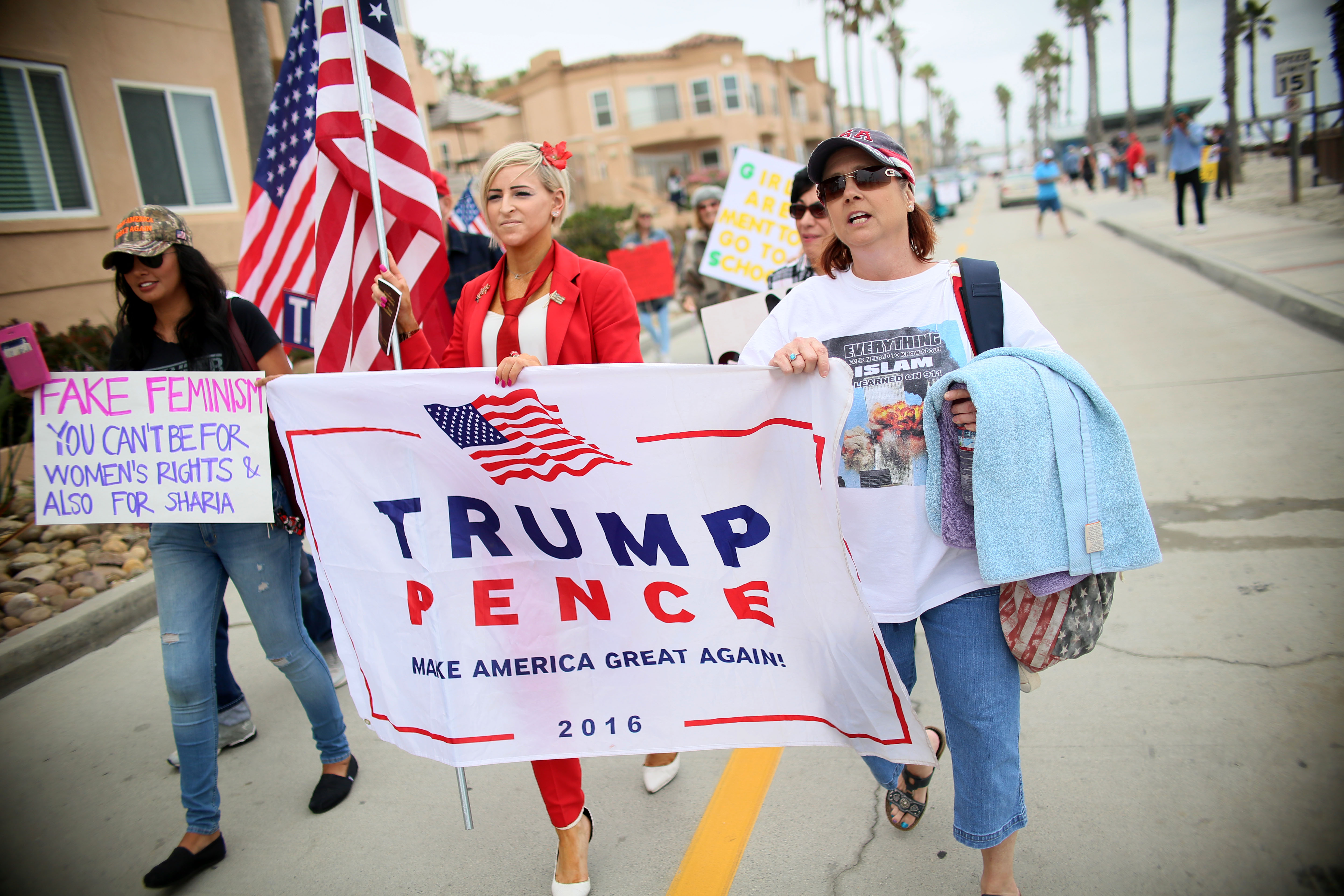 Trump supporters held several rallies around the nation to bring attention to helping protect women and children from Sharia Law and its impact on Muslim women and children including honor killings and Female Genital Mutilation. (SANDY HUFFAKER/AFP/Getty Images)
