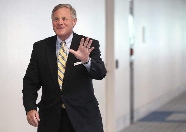 WASHINGTON, DC - JULY 1: Sen. Richard Burr (R-NC), chairman of the Senate Select Committee on Intelligence, arrives for a closed committee meeting July 11, 2017 in Washington, DC. Ranking member of the committee, Sen. Mark Warner (D-VA), commented briefly on recent reports of Donald Trump Jr. meeting with a Russian lawyer in June 2016. (Photo by Win McNamee/Getty Images)