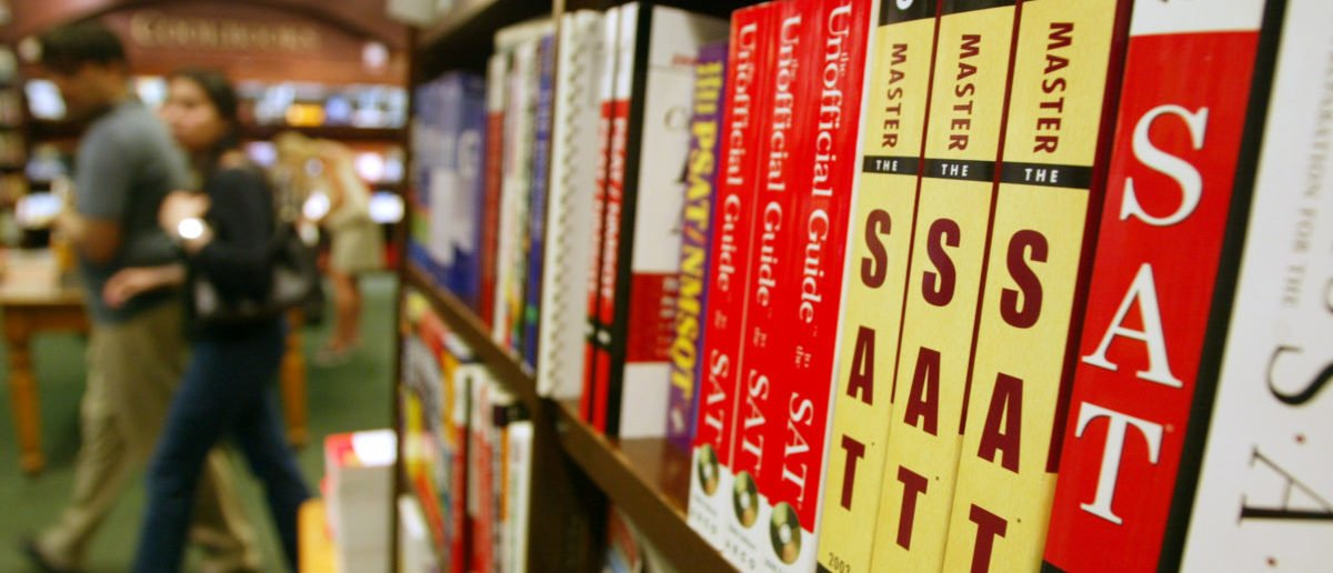 SAT test preparation books sit on a shelf at a Barnes and Noble store June 27, 2002 in New York City. (Mario Tama/Getty Images)