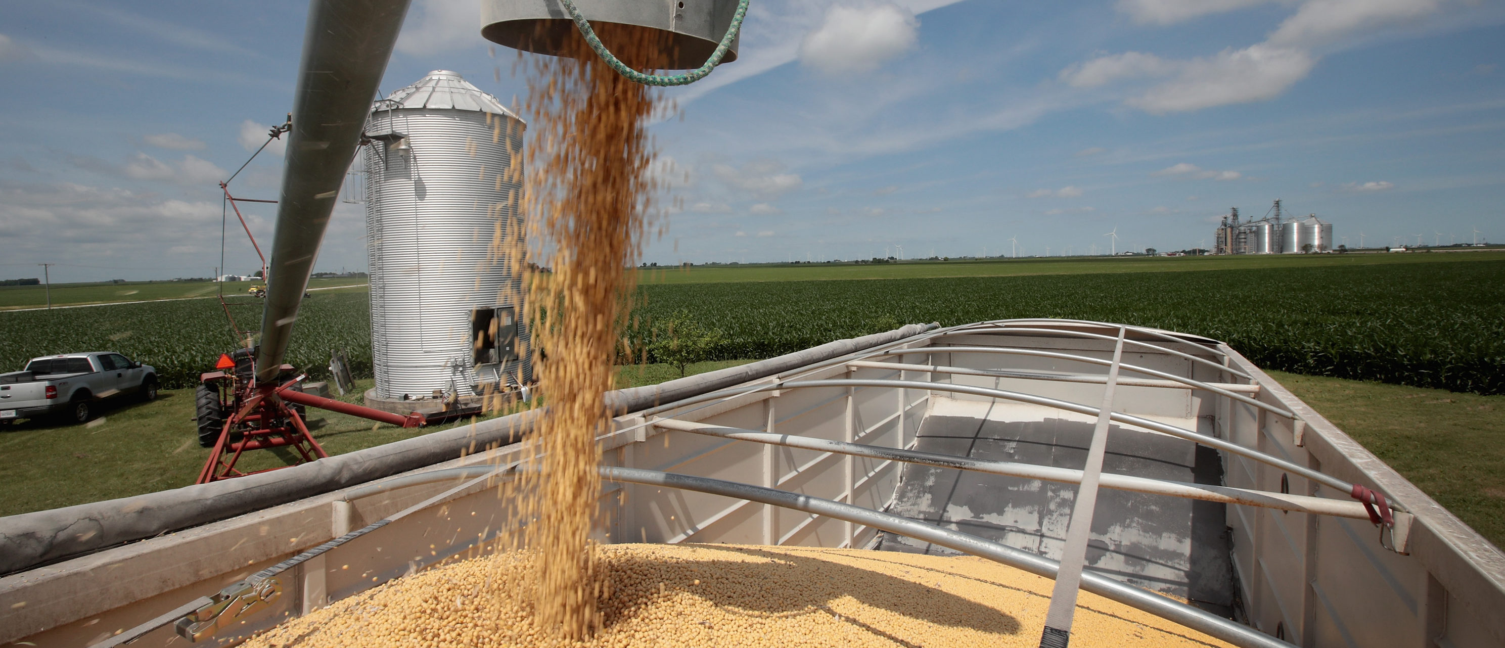 Farmer John Duffy loads soybeans from his grain bin onto a truck before taking them to a grain elevator on June 13, 2018 in Dwight, Illinois. U.S. Soybean futures plunged today with renewed fears that China could hit U.S. soybeans with retaliatory tariffs if the Trump administration follows through with threatened tariffs on Chinese goods. (Scott Olson/Getty Images)