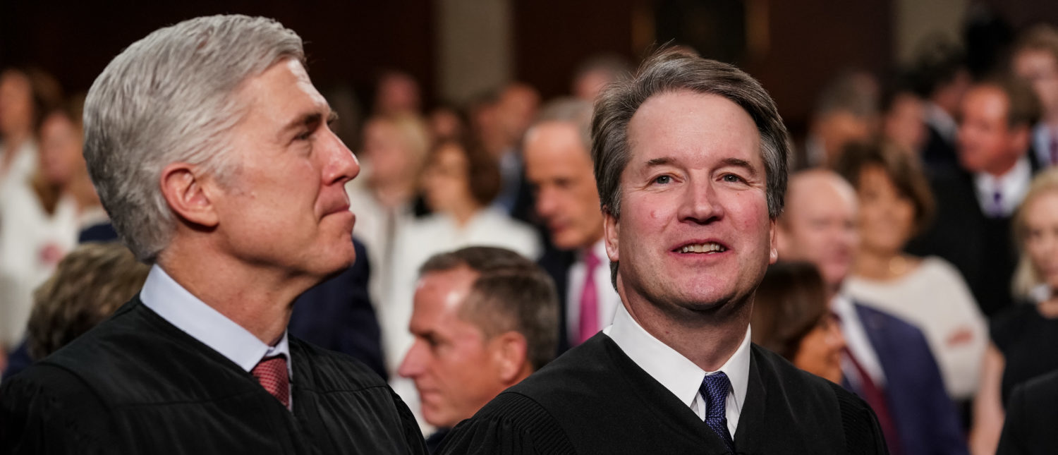 Supreme Court Justices Neil Gorsuch and Brett Kavanaugh attend the State of the Union address on February 5, 2019. (Doug Mills/Pool/Getty Images)