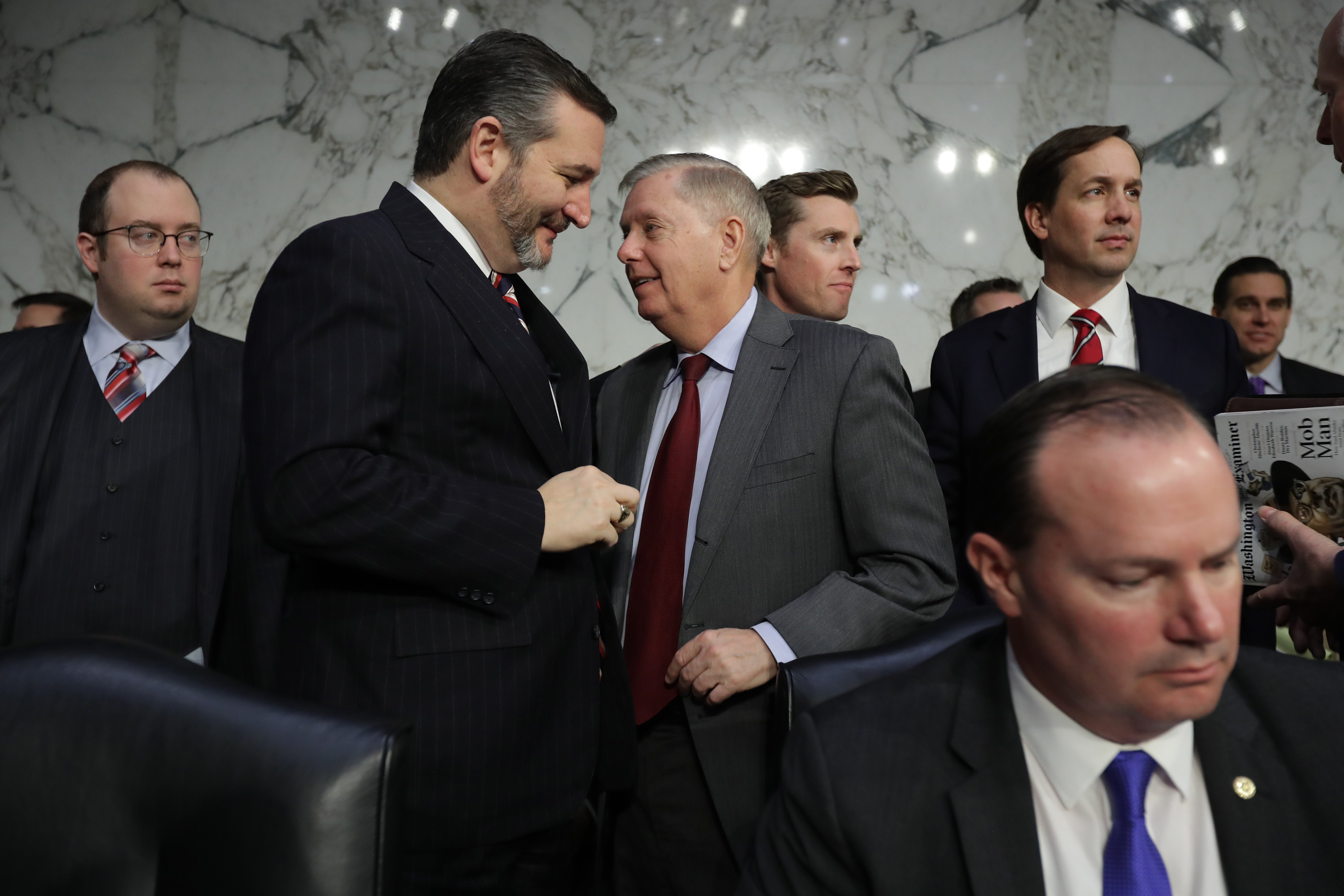 Senate Judiciary Committee Chairman Lindsey Graham talks with Sen. Ted Cruz during a break in the confirmation hearing for William Barr on January 15, 2019. (Chip Somodevilla/Getty Images)