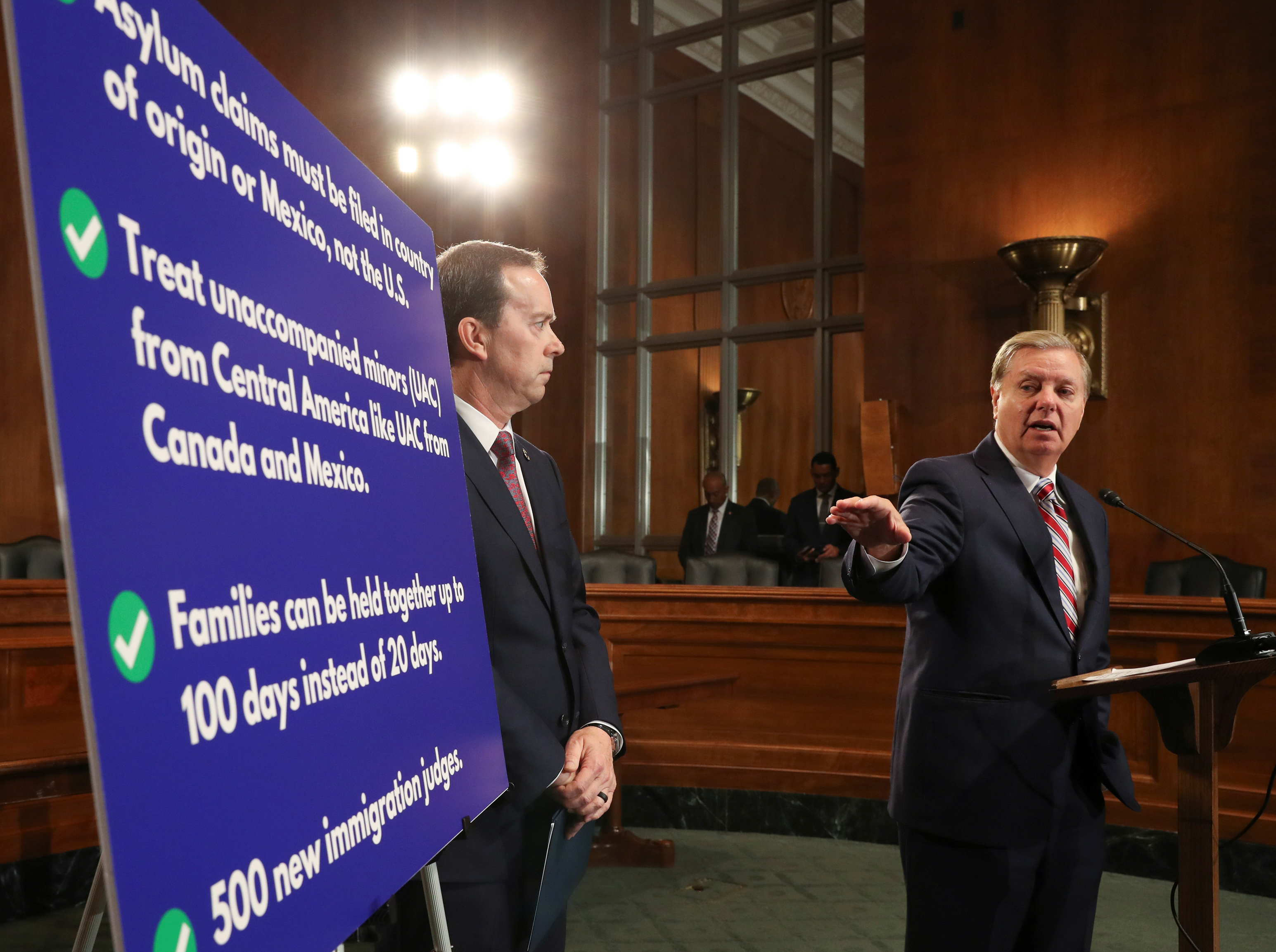 U.S. Senate Judiciary Committee Chairman Graham holds news conference on immigration and border protection on Capitol Hill in Washington