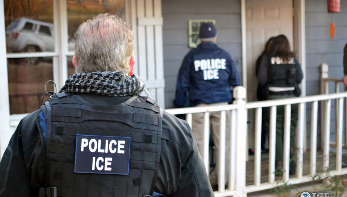 U.S. Immigration and Customs Enforcement (ICE) officers conduct a targeted enforcement operation in Atlanta, Georgia, U.S. on Feb. 9, 2017. Courtesy Bryan Cox/U.S. Immigration and Customs