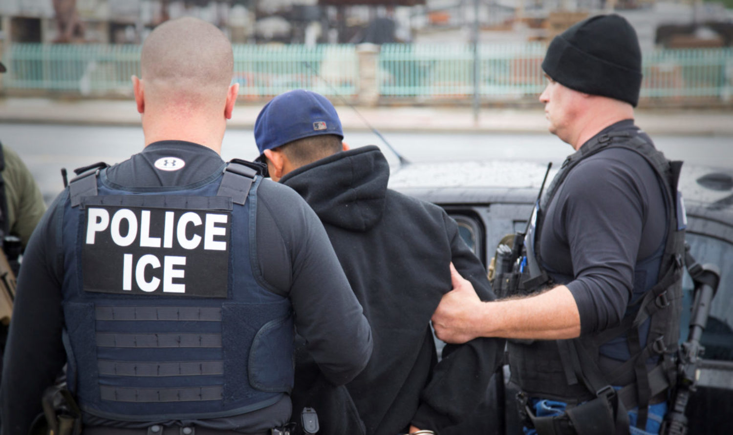 U.S. Immigration and Customs Enforcement (ICE) officers detain a suspect as they conduct a targeted enforcement operation in Los Angeles, California, U.S. on February 7, 2017. Picture taken on February 7, 2017. Courtesy Charles Reed/U.S. REUTERS