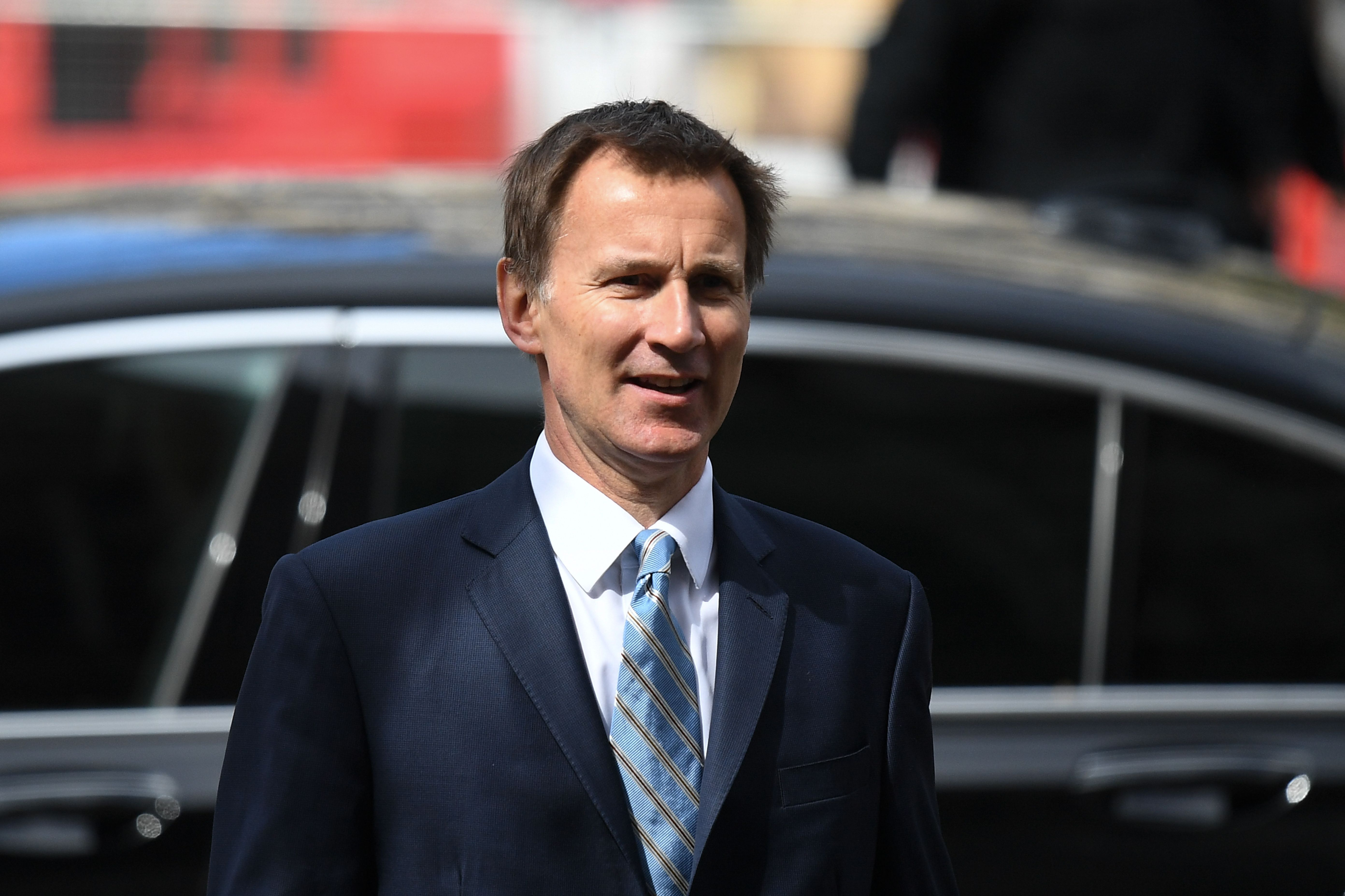Britain's Foreign Secretary Jeremy Hunt arrives to attend a service of commemoration and thanksgiving to mark Anzac Day in Westminster Abbey in London on April 25, 2019. (DANIEL LEAL-OLIVAS/AFP/Getty Images)