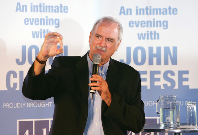 British comedian John Cleese gestures during a news conference at Taronga Zoo in Sydney January 6, 2006. Academy Award winner Cleese was promoting a Sydney show ahead of a solo tour of Australia in September 2006 following a sell-out tour of New Zealand. REUTERS/Will Burgess