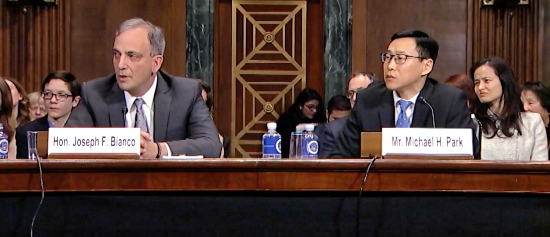 Judge Joseph Bianco (L) and Michael Park (R) appear before the Senate Judiciary Committee on Feb. 13, 2019. (YouTube screenshot/Mazie Hirono)