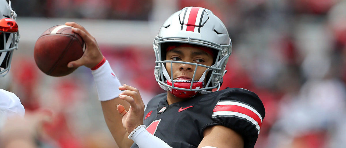 Apr 13, 2019; Columbus, OH, USA; Ohio State Buckeyes quarterback Justin Fields (1) during the first half of the Spring Game at Ohio Stadium. Mandatory Credit: Joe Maiorana-USA TODAY Sports - via Reuters