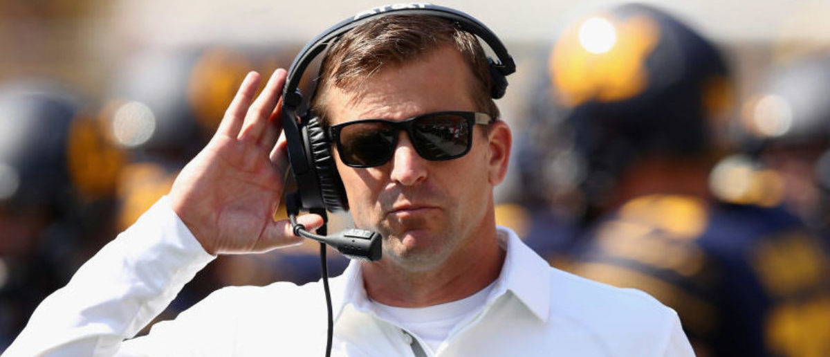 BERKELEY, CA - SEPTEMBER 09: Head coach Justin Wilcox of the California Golden Bears stands on the side of the field during their game against the Weber State Wildcats at California Memorial Stadium on September 9, 2017 in Berkeley, California. (Photo by Ezra Shaw/Getty Images)