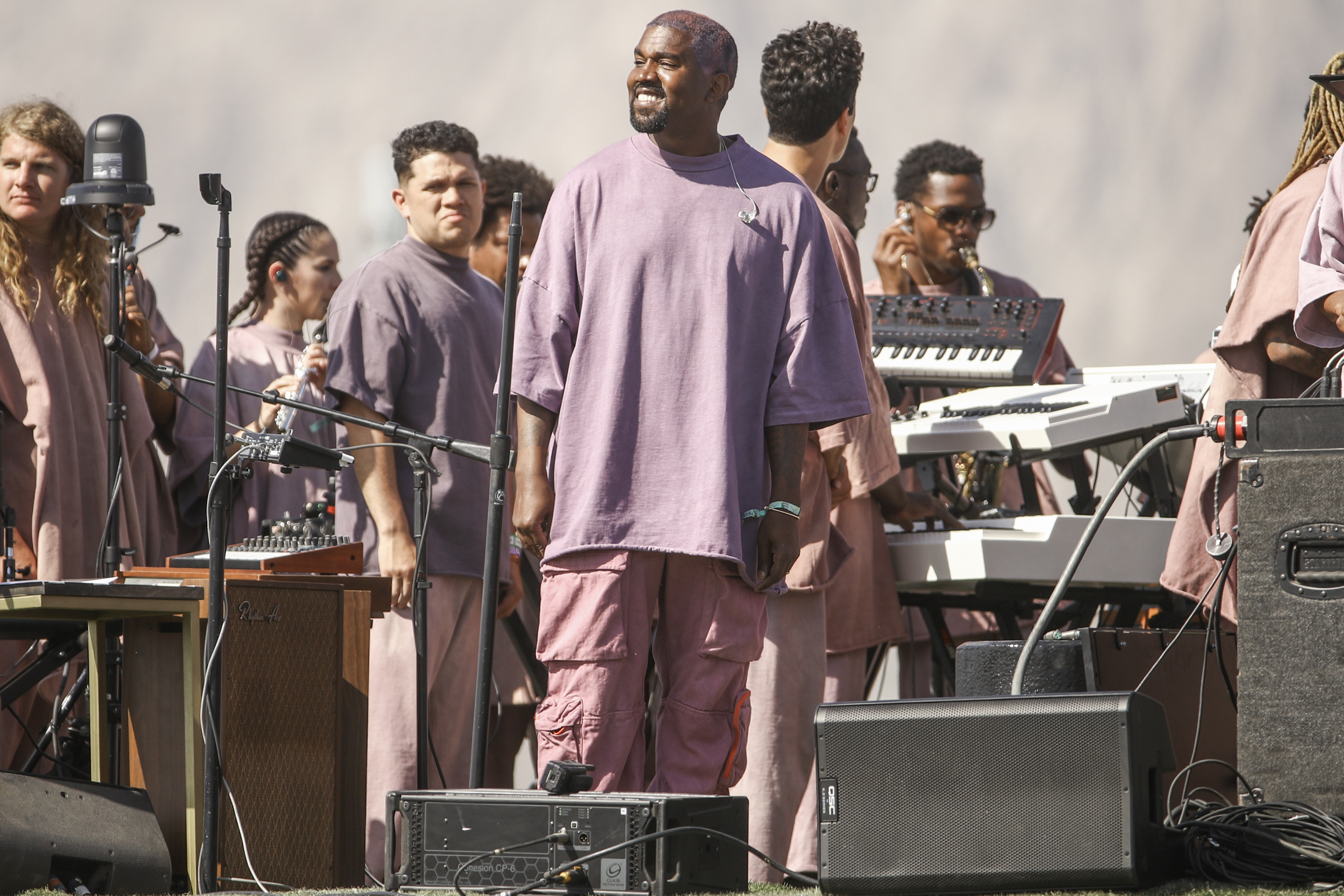 Kanye West performs Sunday Service during the 2019 Coachella Valley Music And Arts Festival on April 21, 2019 in Indio, California. (Photo by Rich Fury/Getty Images for Coachella)