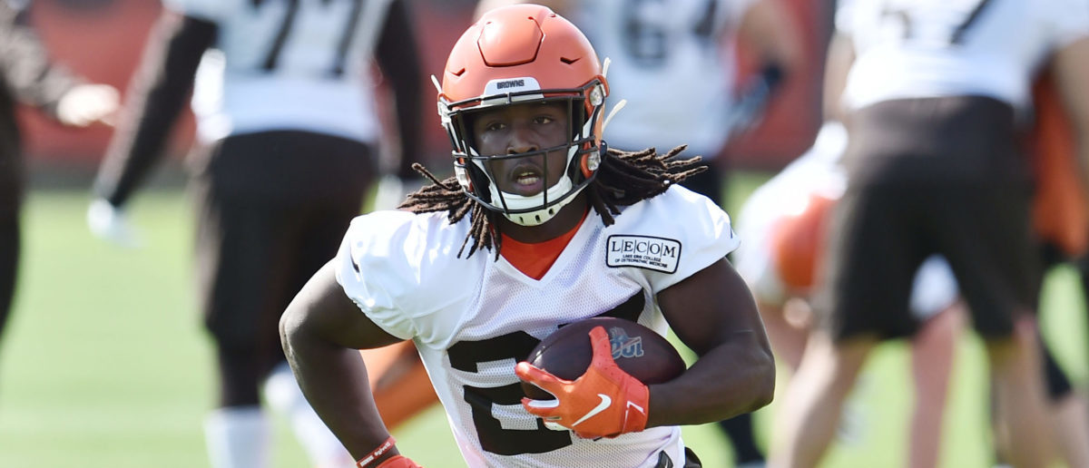May 15, 2019; Berea, OH, USA; Cleveland Browns running back Kareem Hunt (27) runs with the ball during organized team activities at the Cleveland Browns training facility. Mandatory Credit: Ken Blaze-USA TODAY Sports - via Reuters
