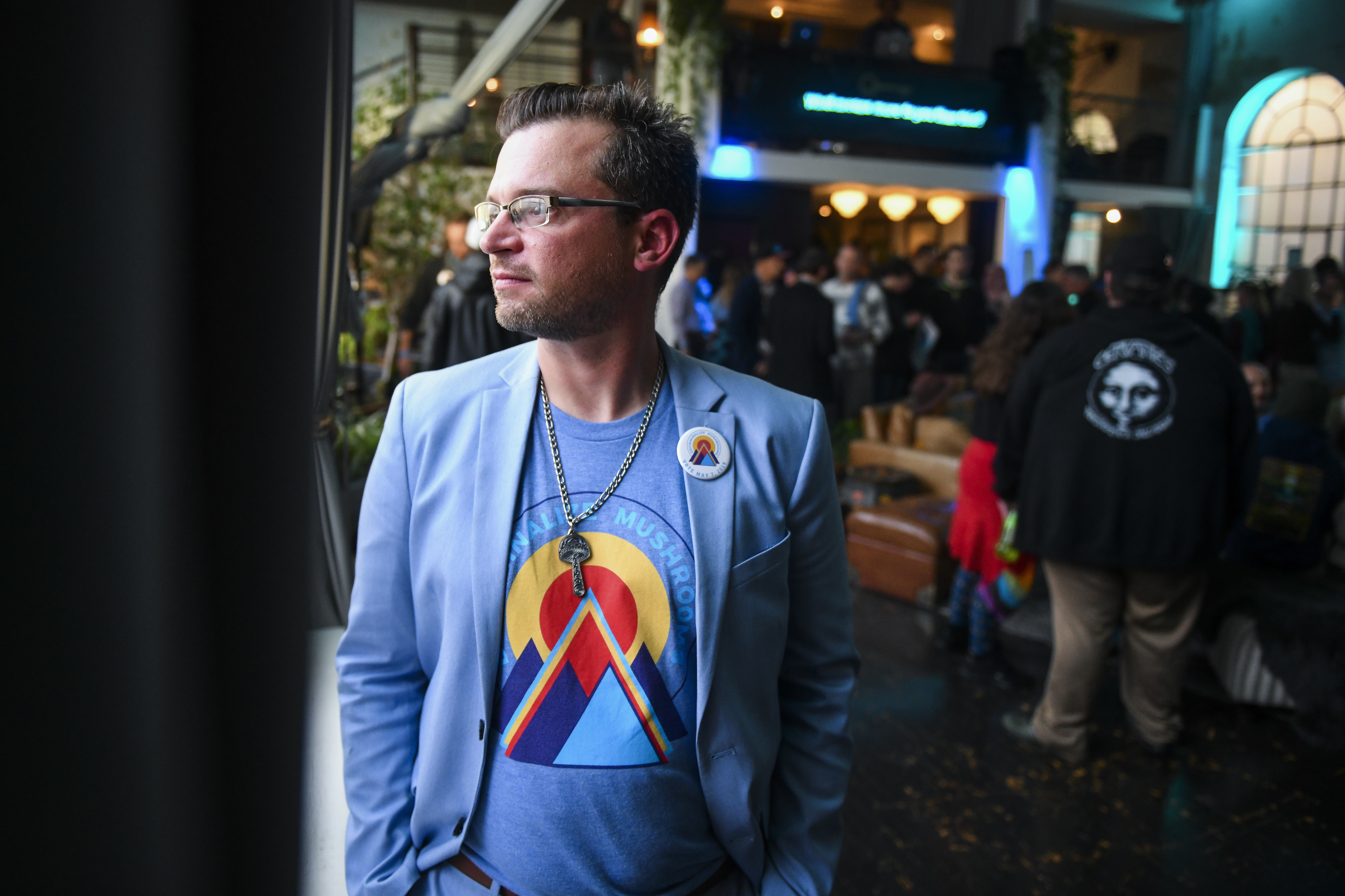 DENVER, CO - MAY 07: Campaign manager for the Denver Psilocybin Initiative Kevin Matthews poses for a portrait at an election watch party for the first bill in the nation that would decriminalize psilocybin mushrooms on May 7, 2019 in Denver, Colorado. If the bill passes, it would make possession, use or cultivation of psilocybin mushrooms by people aged 21 and older the lowest law enforcement priority in the city. (Photo by Michael Ciaglo/Getty Images)