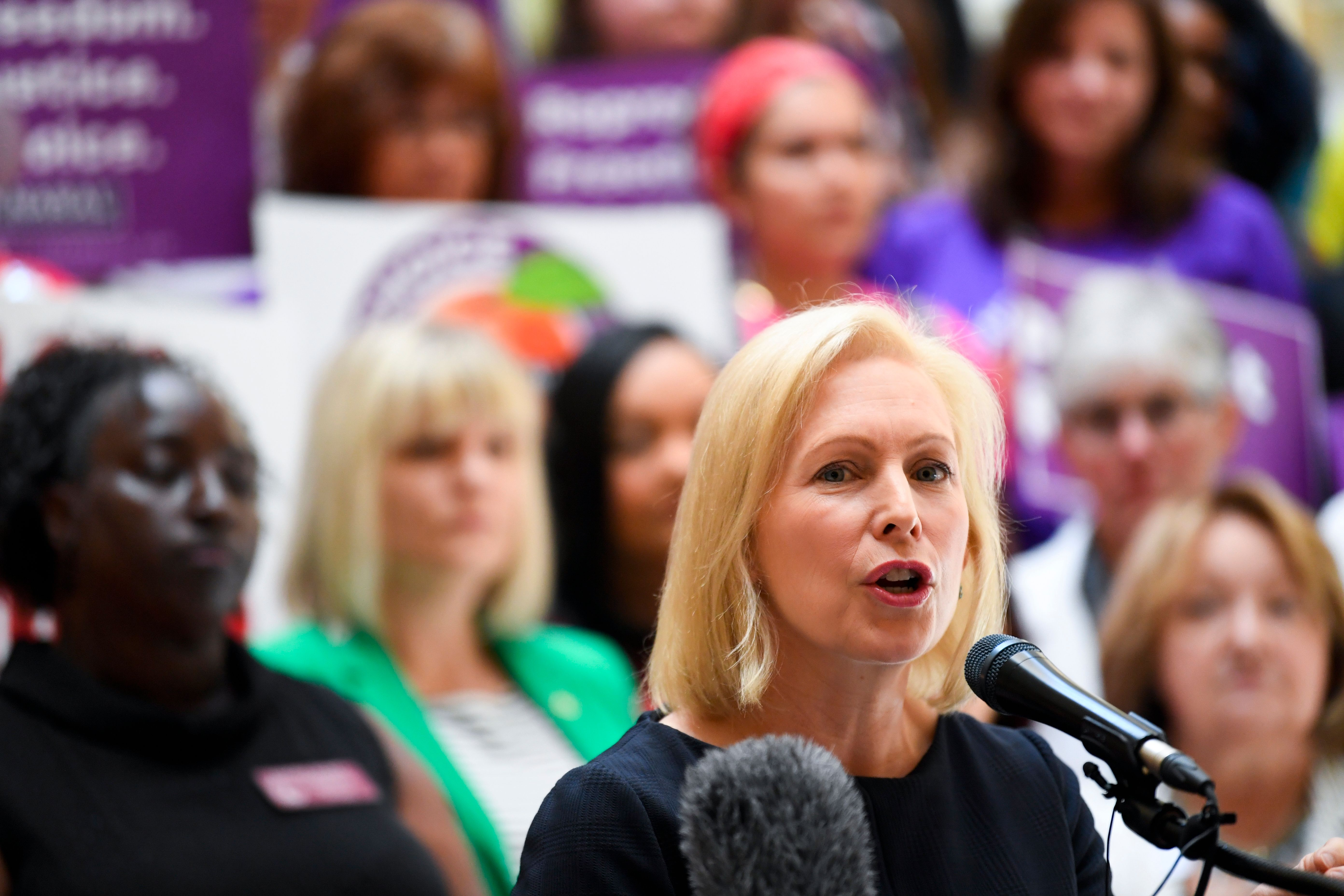 Democratic presidential candidate Sen. Kirsten Gillibrand (D-NY) addresses an event at the Georgia State Capitol to speak out against the recently passed heartbeat bill on May 16, 2019. (John Amis/AFP/Getty Images)