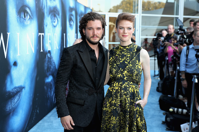 "Actors Kit Harington and Rose Leslie attend the premiere of HBO's ""Game Of Thrones"" season 7 at Walt Disney Concert Hall on July 12, 2017 in Los Angeles, California. (Photo by Neilson Barnard/Getty Images)"