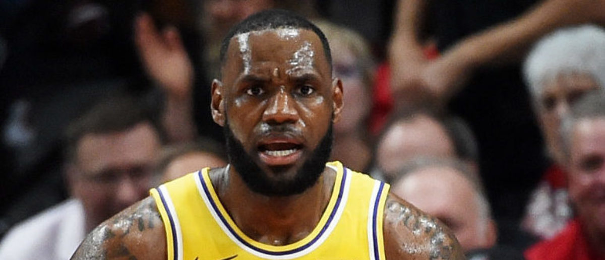 PORTLAND, OR - OCTOBER 18: LeBron James #23 of the Los Angeles Lakers reacts in the second quarter of their game against the Portland Trail Blazers at Moda Center on October 18, 2018 in Portland, Oregon. (Photo by Steve Dykes/Getty Images)