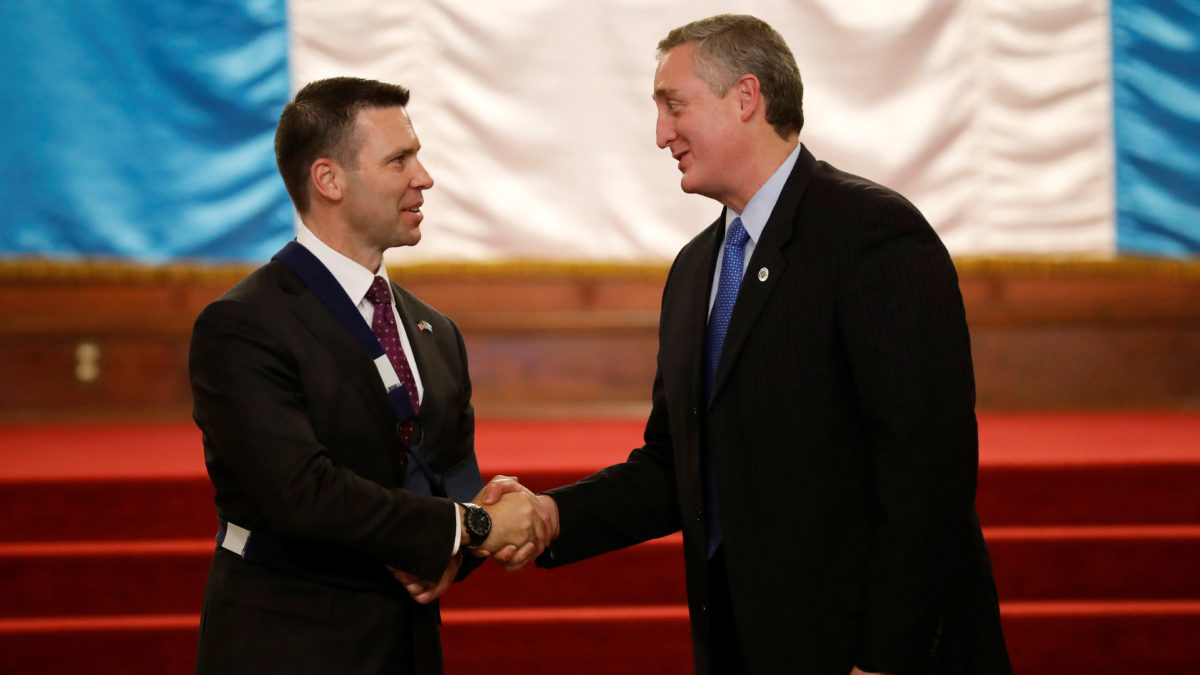 Guatemala Minister of Interior and Home Affairs Enrique Degenhart shakes hands with Acting Secretary of U.S. Homeland Security, Kevin McAleenan during a meeting in Guatemala City, Guatemala May 27, 2019. REUTERS/Luis Echeverria