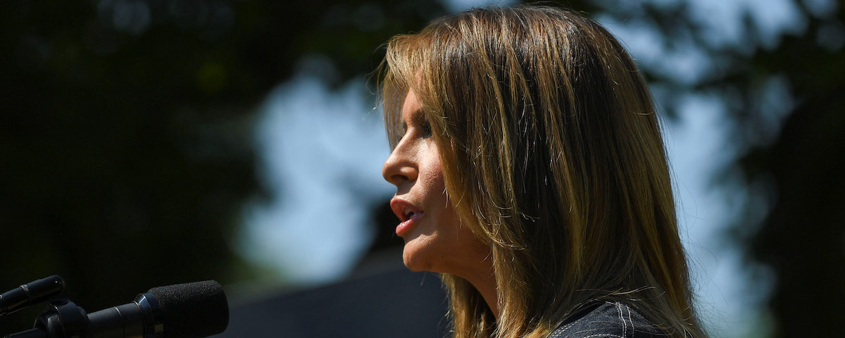"""U.S. first lady Melania Trump speaks at an event to celebrate the one year anniversary of her """"Be Best"""" initiative in the Rose Garden at the White House in Washington, U.S., May 7, 2019. REUTERS/Clodagh Kilcoyne"""