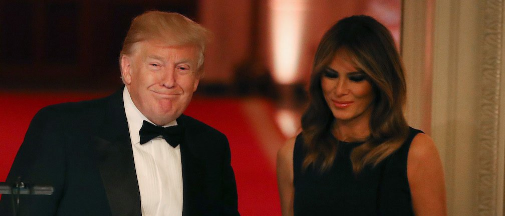 U.S. President Donald Trump and first lady Melania Trump attend the White House Historical Association Dinner in the East Room of the White House on May 15, 2019 in Washington, DC. (Photo by Mark Wilson/Getty Images)