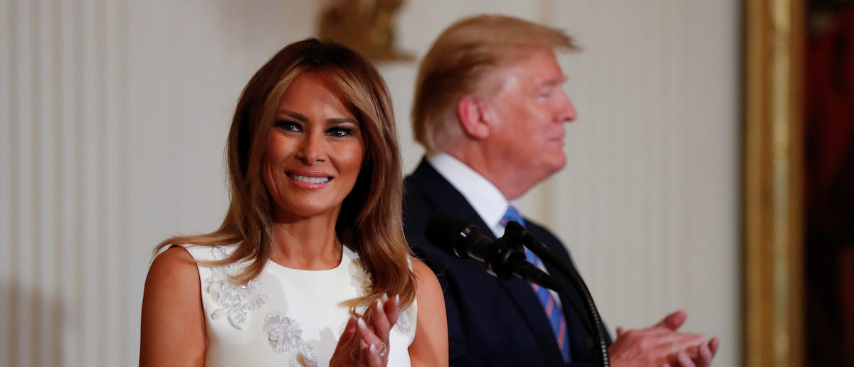 U.S. President Donald Trump and first lady Melania Trump participate in a celebration of military mothers ahead of the Mother's Day holiday in the East Room of the White House in Washington, U.S., May 10, 2019. REUTERS/Kevin Lamarque