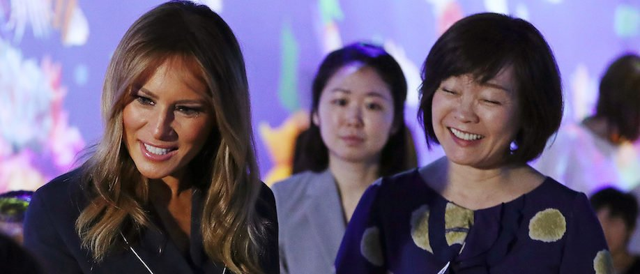 U.S. first lady Melania Trump and Akie Abe, wife of Japanese Prime Minister Shinzo Abe, tour the teamLab Borderless exhibit at the MORI Building Digital Art Museum in Tokyo, Japan May 26, 2019. REUTERS/Athit Perawongmetha