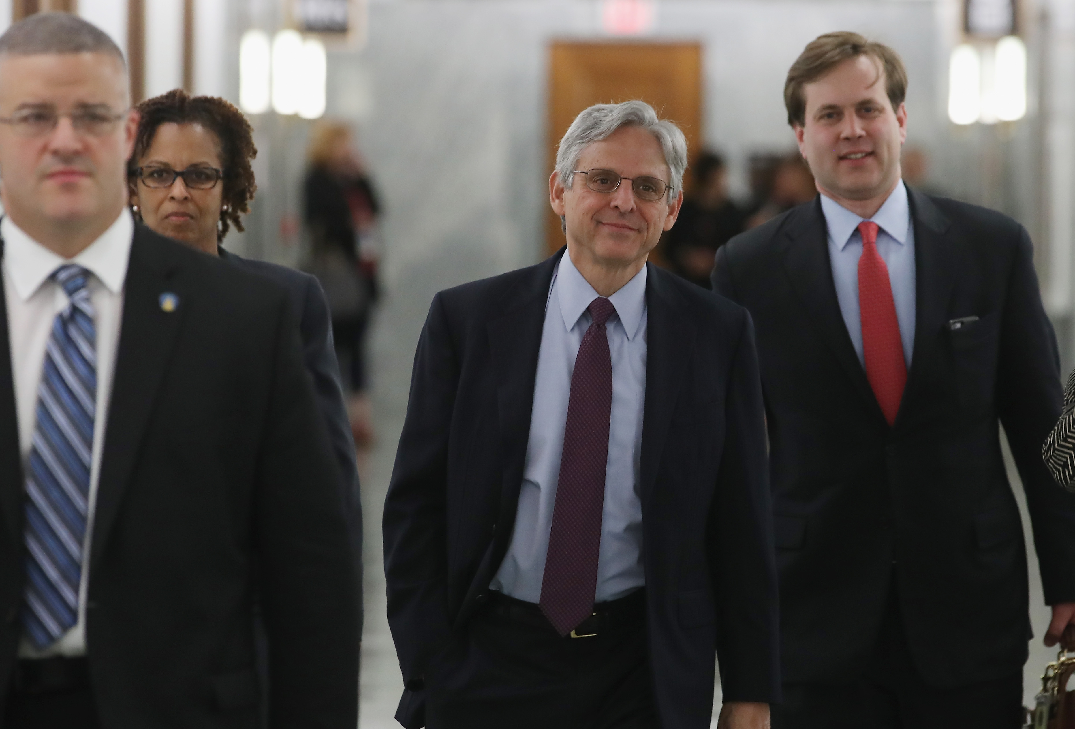 Supreme Court nominee Merrick Garland (C) arrives at a meeting on Capitol Hill on May 11, 2016. (Mark Wilson/Getty Images)