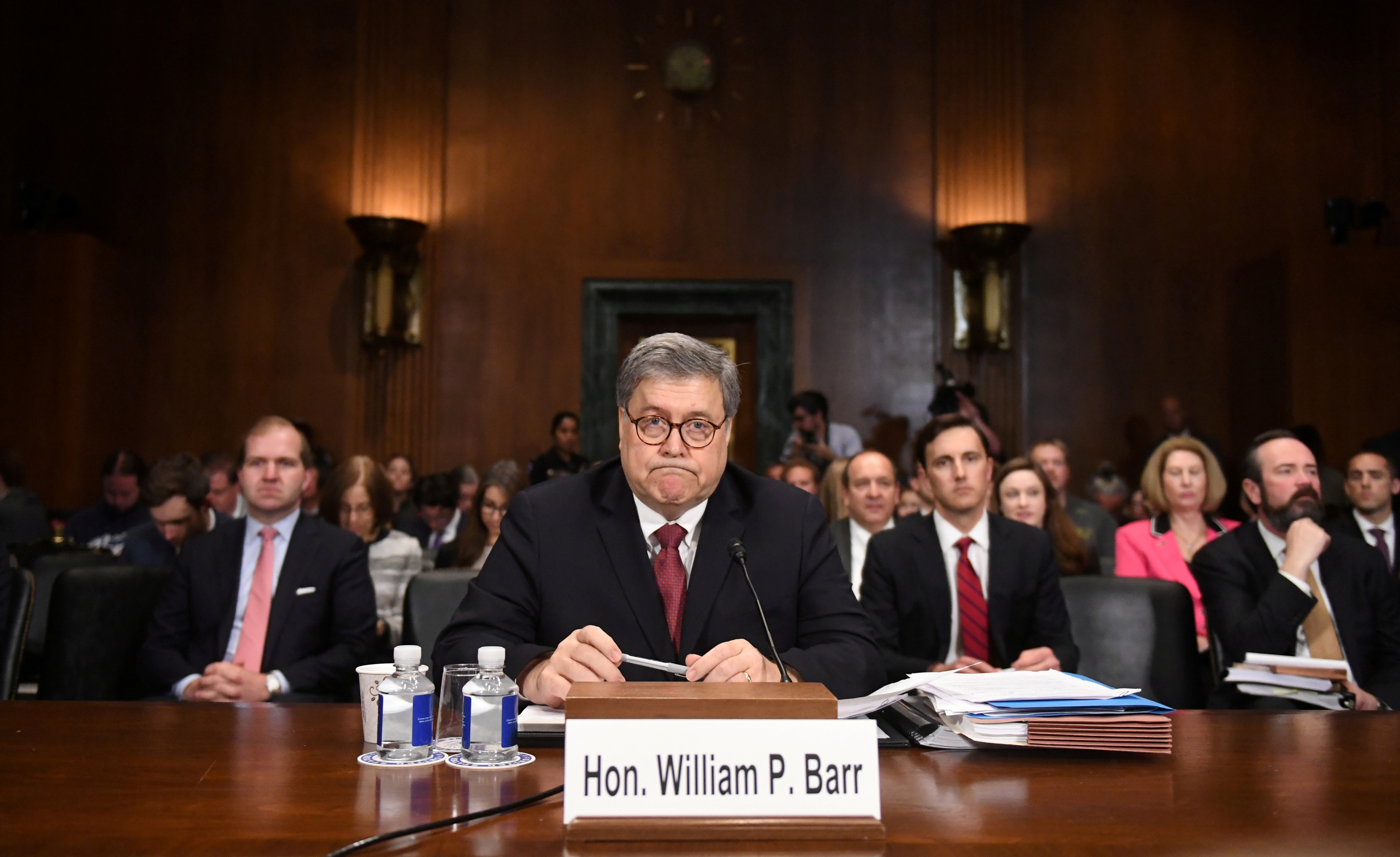 "U.S. Attorney General William Barr testifies before a Senate Judiciary Committee hearing on ""The Justice Department's investigation of Russian interference with the 2016 presidential election"" on Capitol Hill in Washington, D.C., U.S., May 1, 2019. REUTERS/Clodagh Kilcoyne"