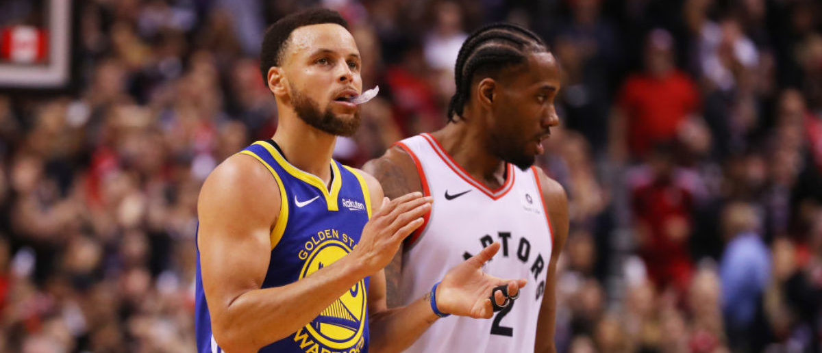 TORONTO, ONTARIO - MAY 30: Stephen Curry #30 of the Golden State Warriors reacts against the Toronto Raptors in the second half during Game One of the 2019 NBA Finals at Scotiabank Arena on May 30, 2019 in Toronto, Canada. (Photo by Gregory Shamus/Getty Images)